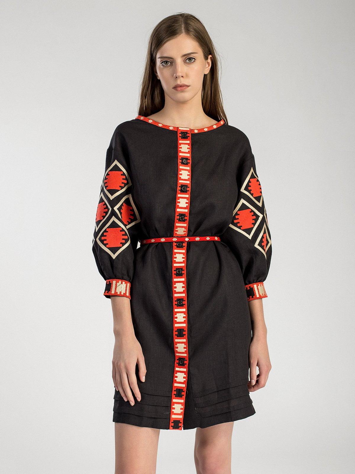 Льняна вишита сукня чорного кольору на гудзиках MD19 – купити в ... 3d35761e145dc