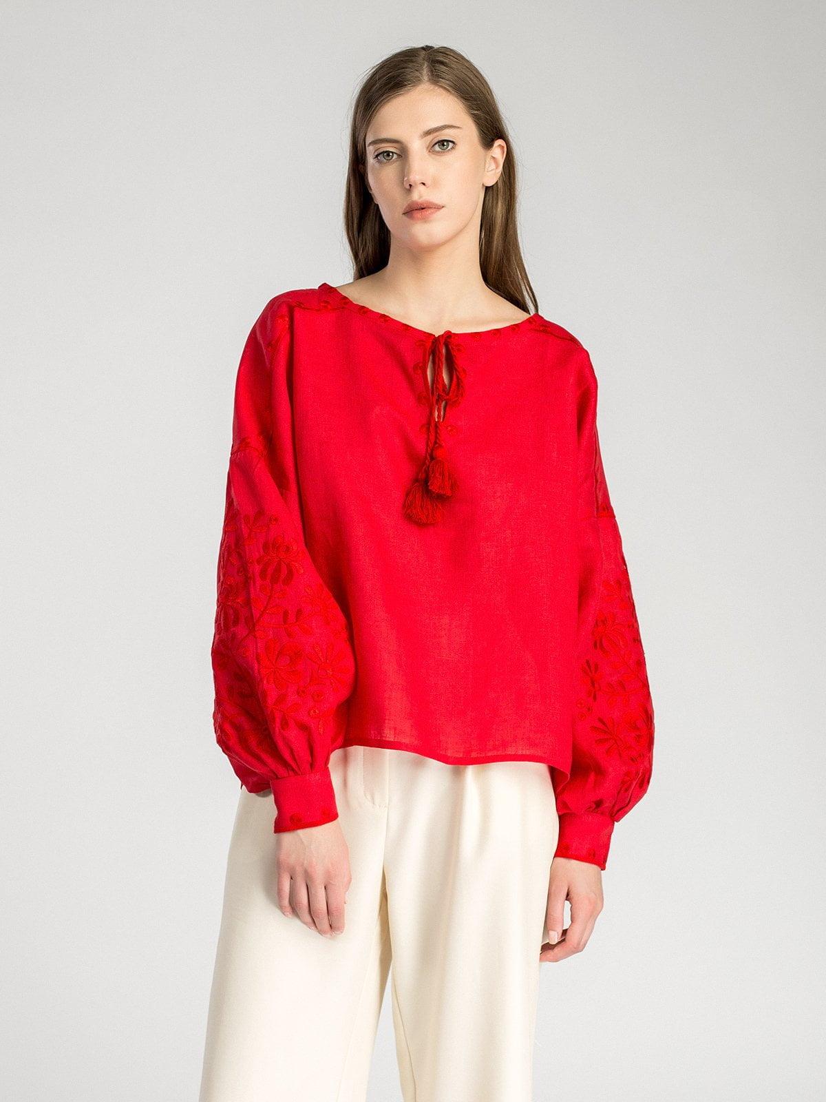 Красная женская вышиванка с пышными рукавами Red Bird. Червона жіноча  вишиванка ... 64b630c8e2df5