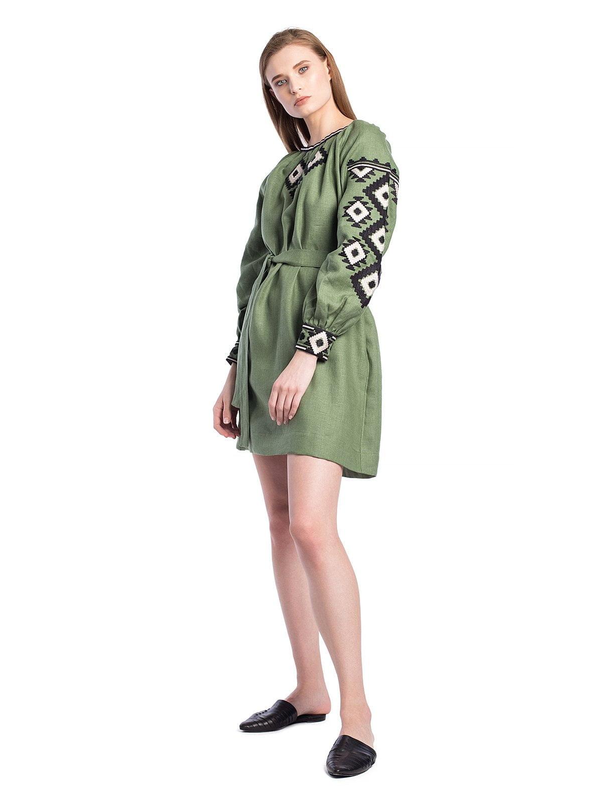 Лляна вишита сукня зеленого кольору з поясом MD6 NEW – купити в ... f352eb6de7abe
