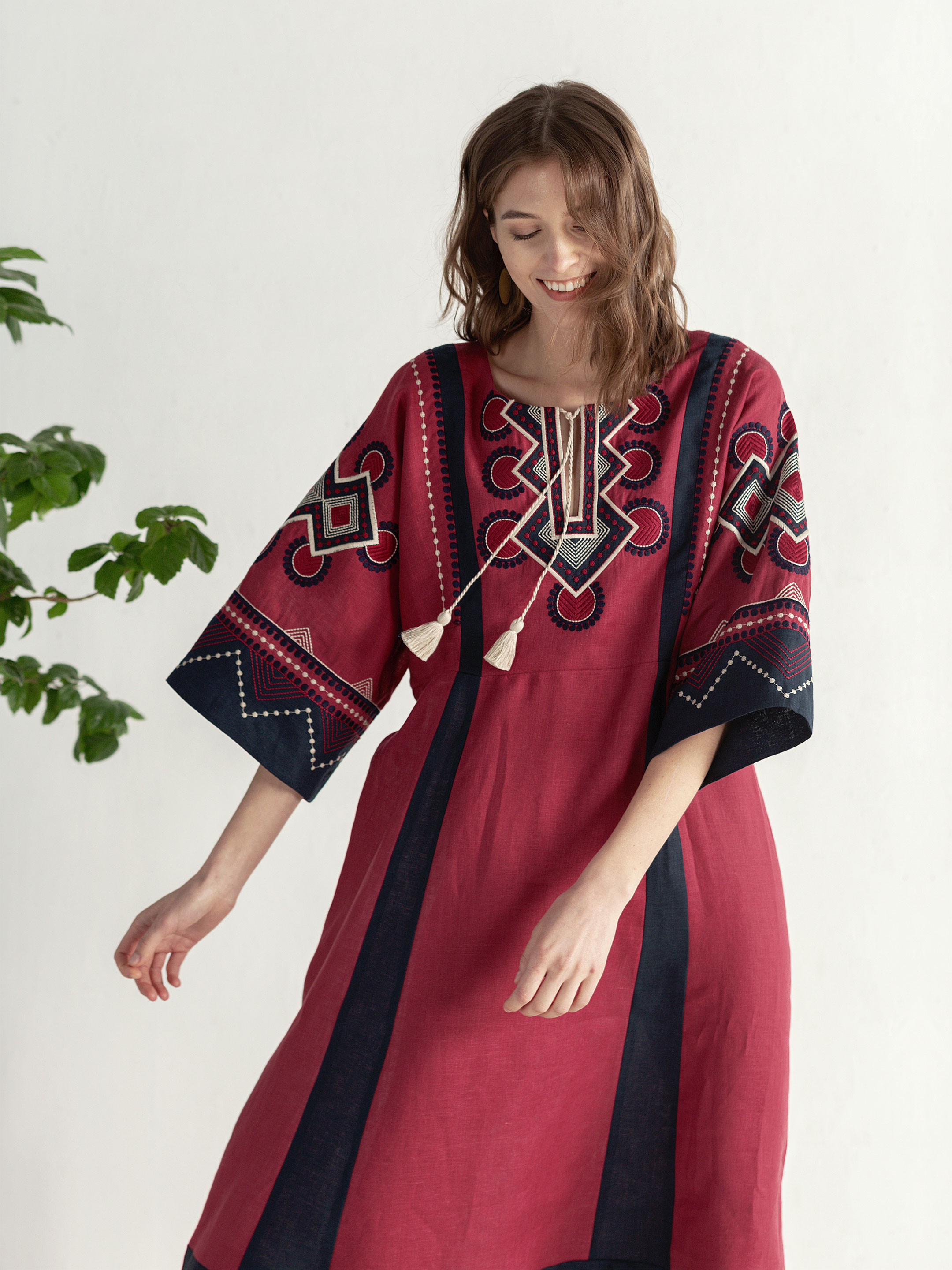 Boho dress of free robe with embroidery Temple2 7