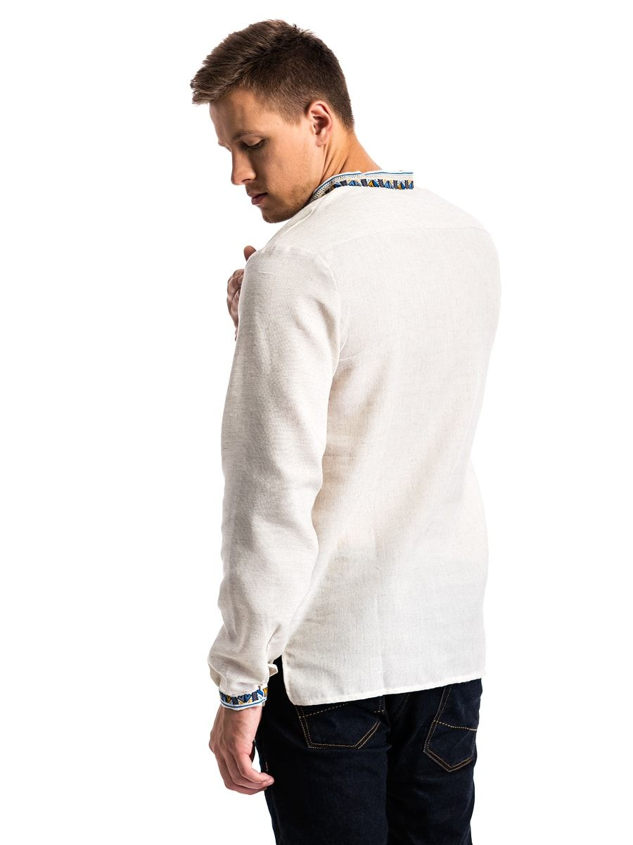 "Men's embroidered shirt on gray homespun cloth ""Polubotok"" E48 4"