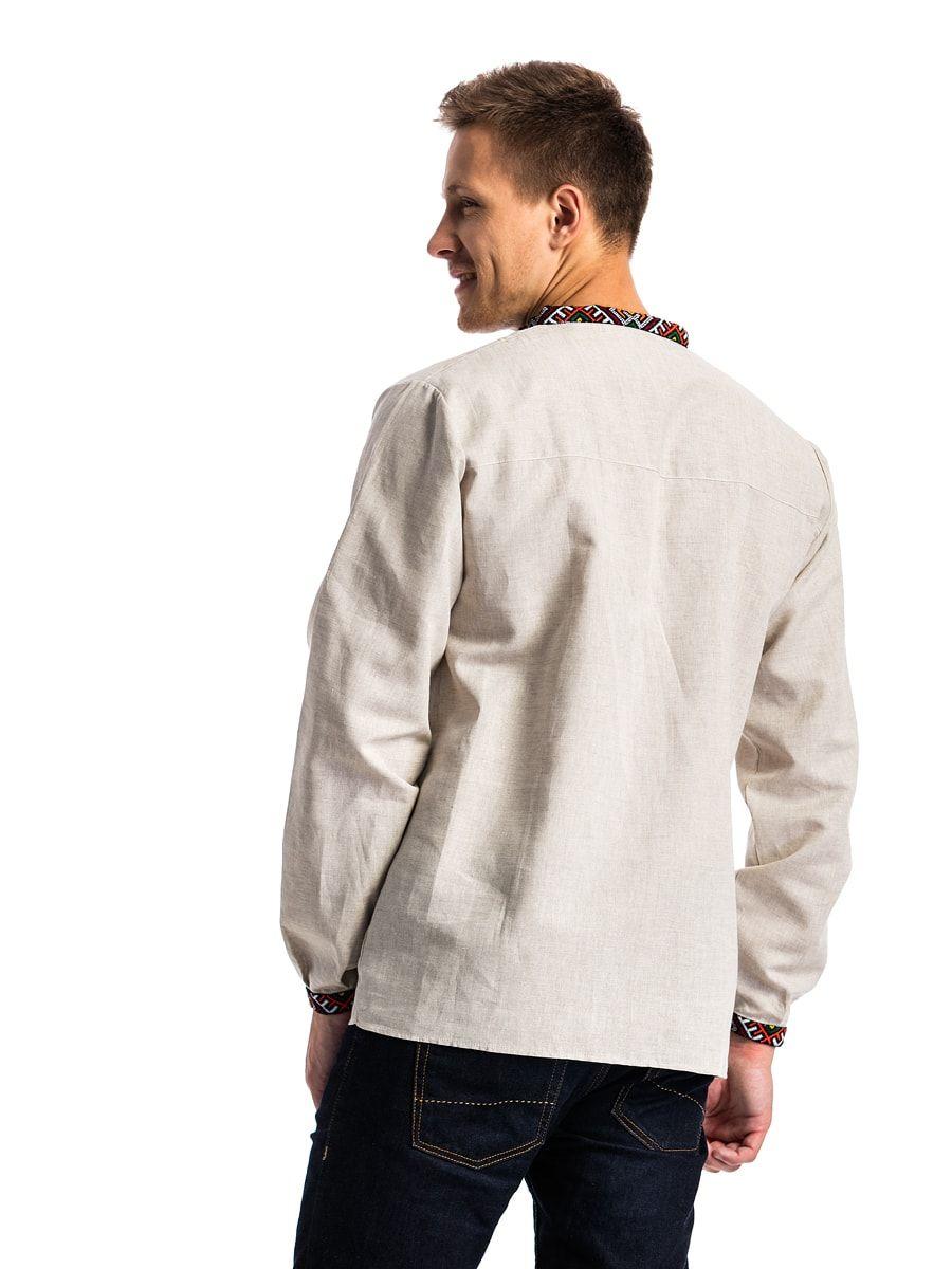 Чоловіча вишиванка з сірого льону з гуцульським орнаментом ЛС1 ... a2f89d026bd71