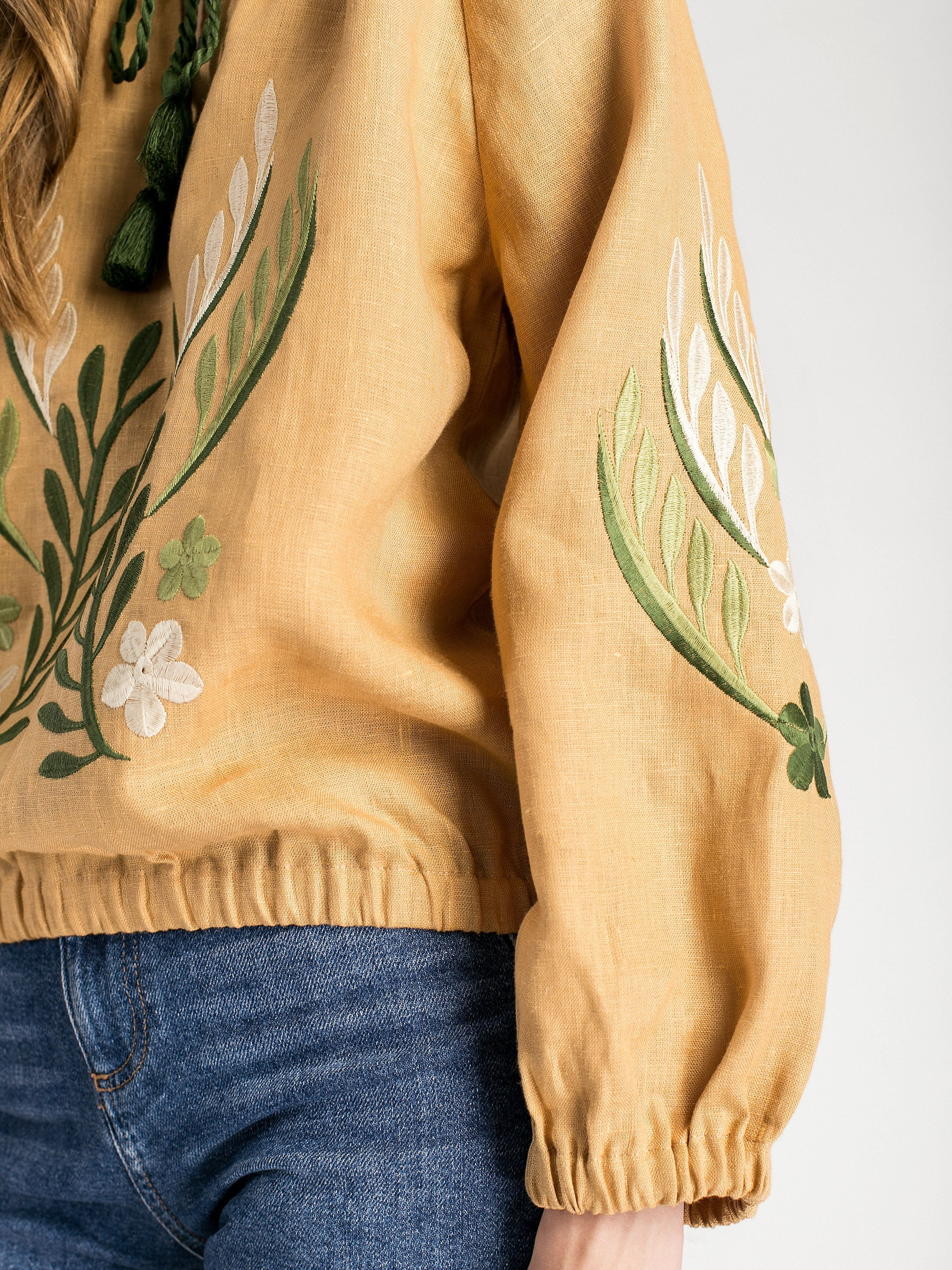 Linen embroidered blouse with elastic band Nature 2 3