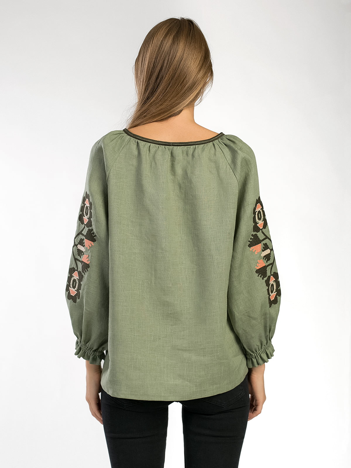 Embroidered shirt in olive linen Werba 4
