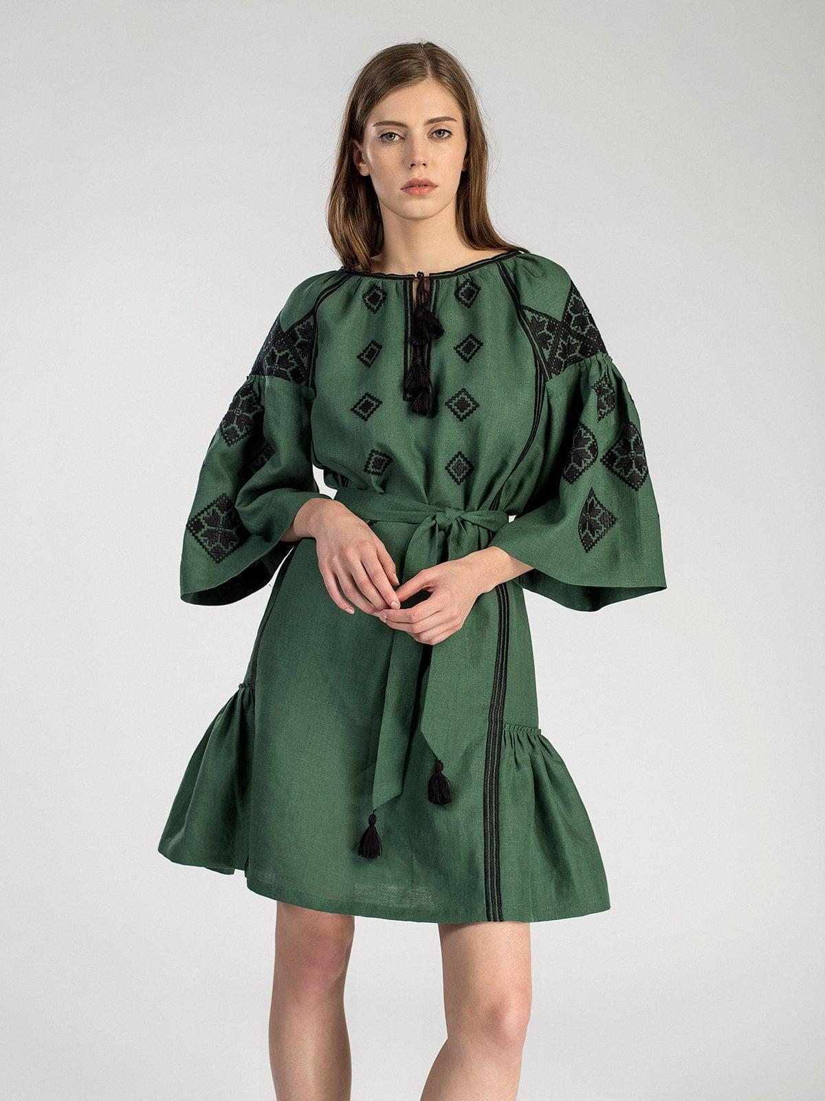 Темно-зелена вишита сукня з пишними рукавами MD22 Green – купити в ... 7ddcc5e076a07