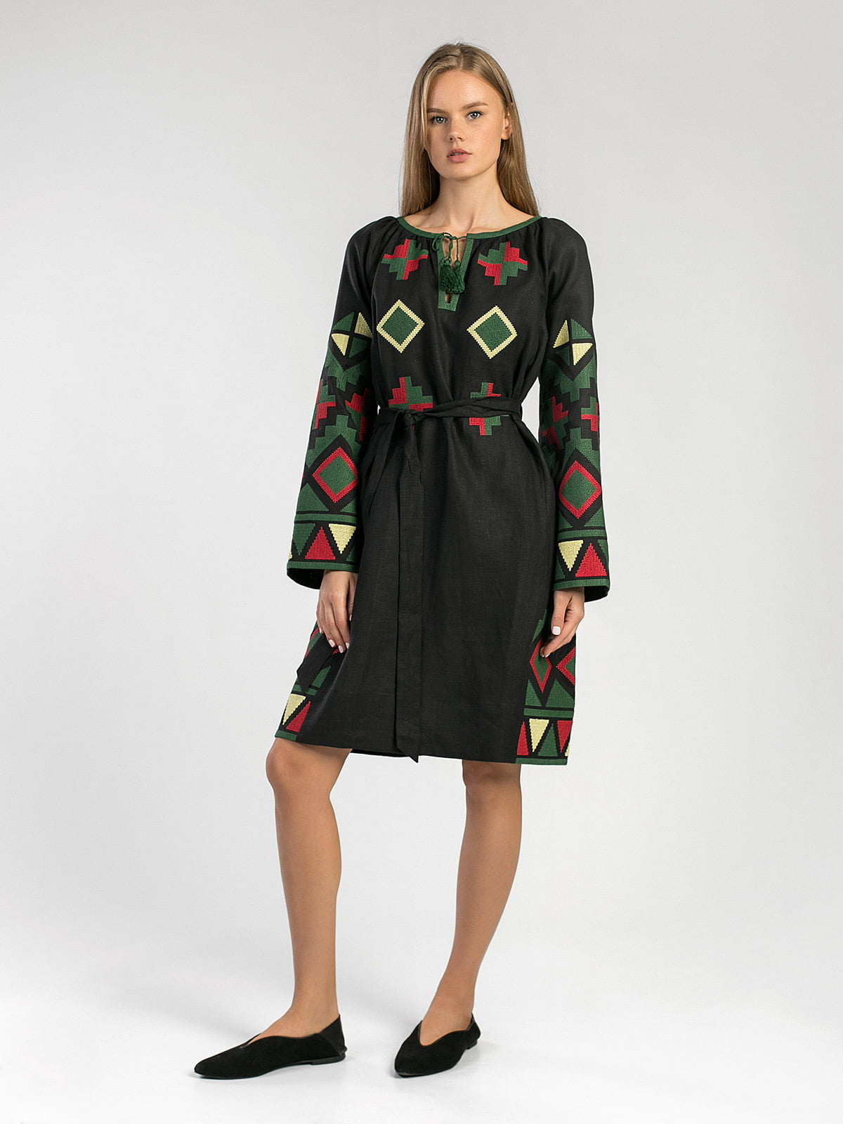 Black free-cut dress with massive embroidery ETHNO8 Black 4