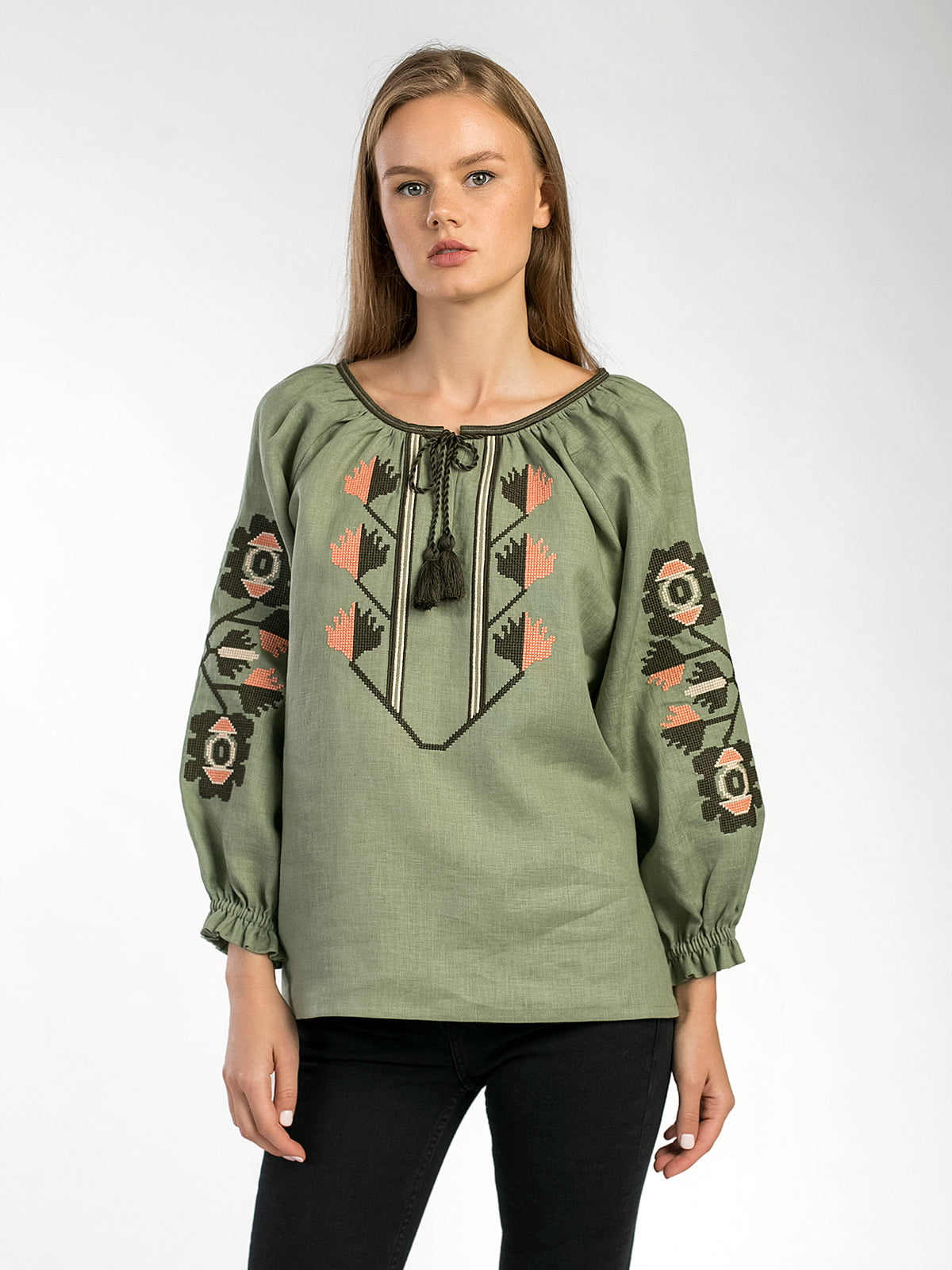 Embroidered shirt in olive linen Werba