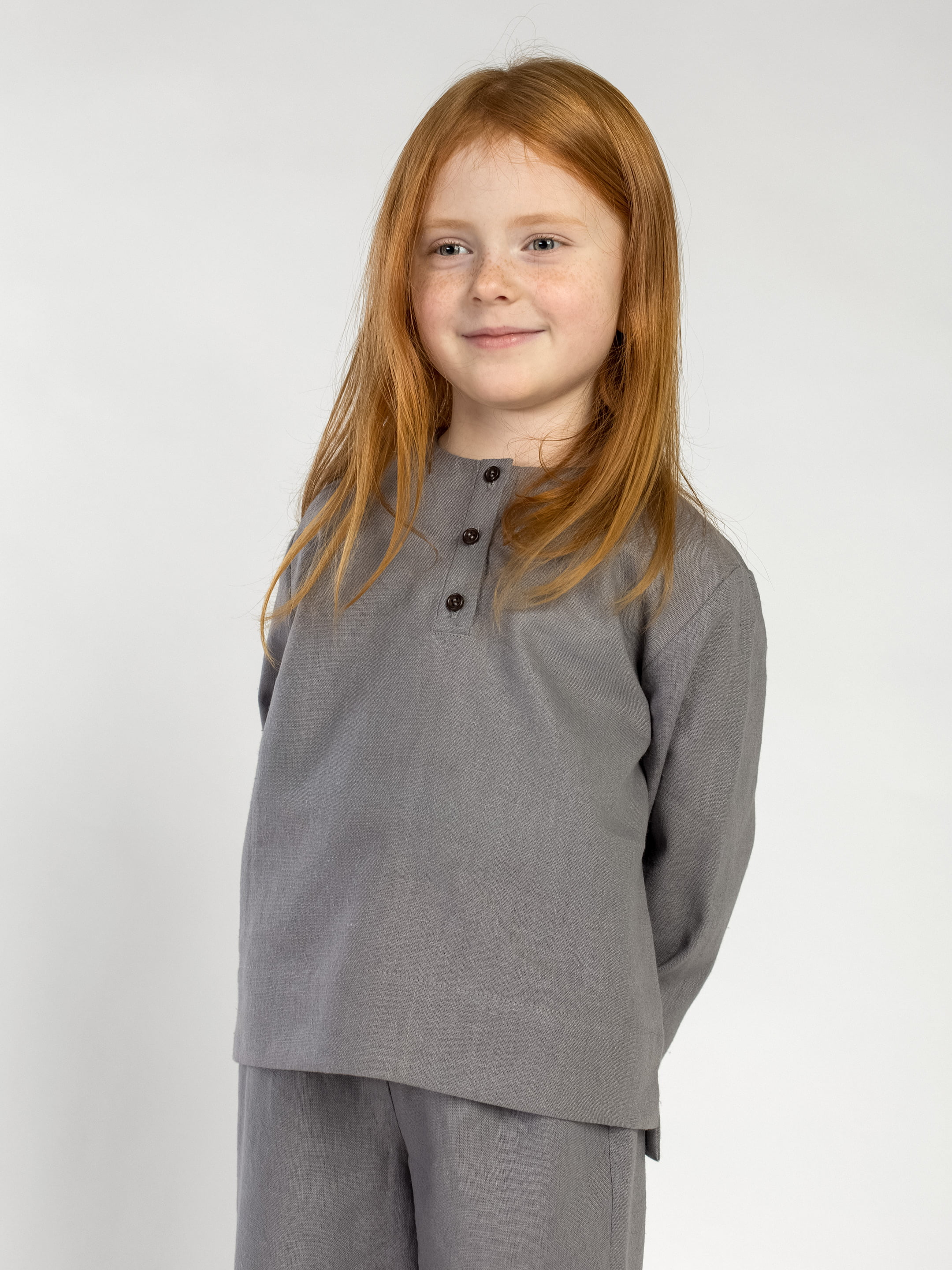 Linen Pajamas for the girl Dobby Grey 3