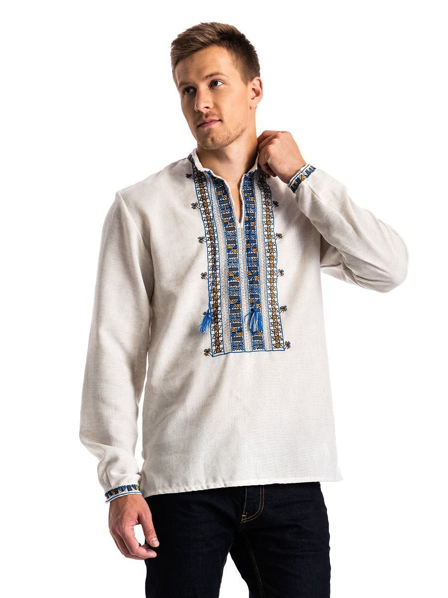 "Men's embroidered shirt on gray homespun cloth ""Polubotok"" E48"