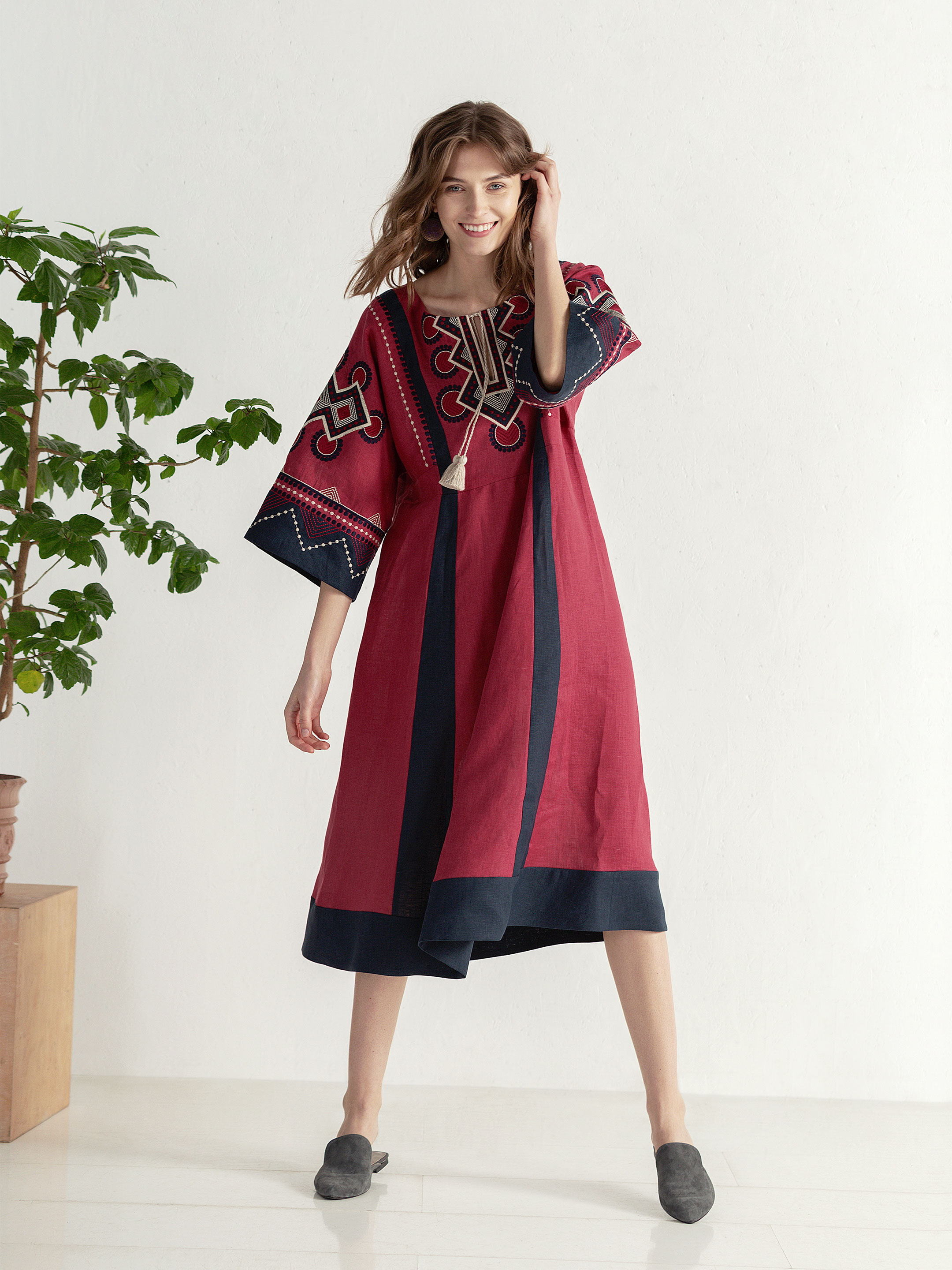 Boho dress of free robe with embroidery Temple2