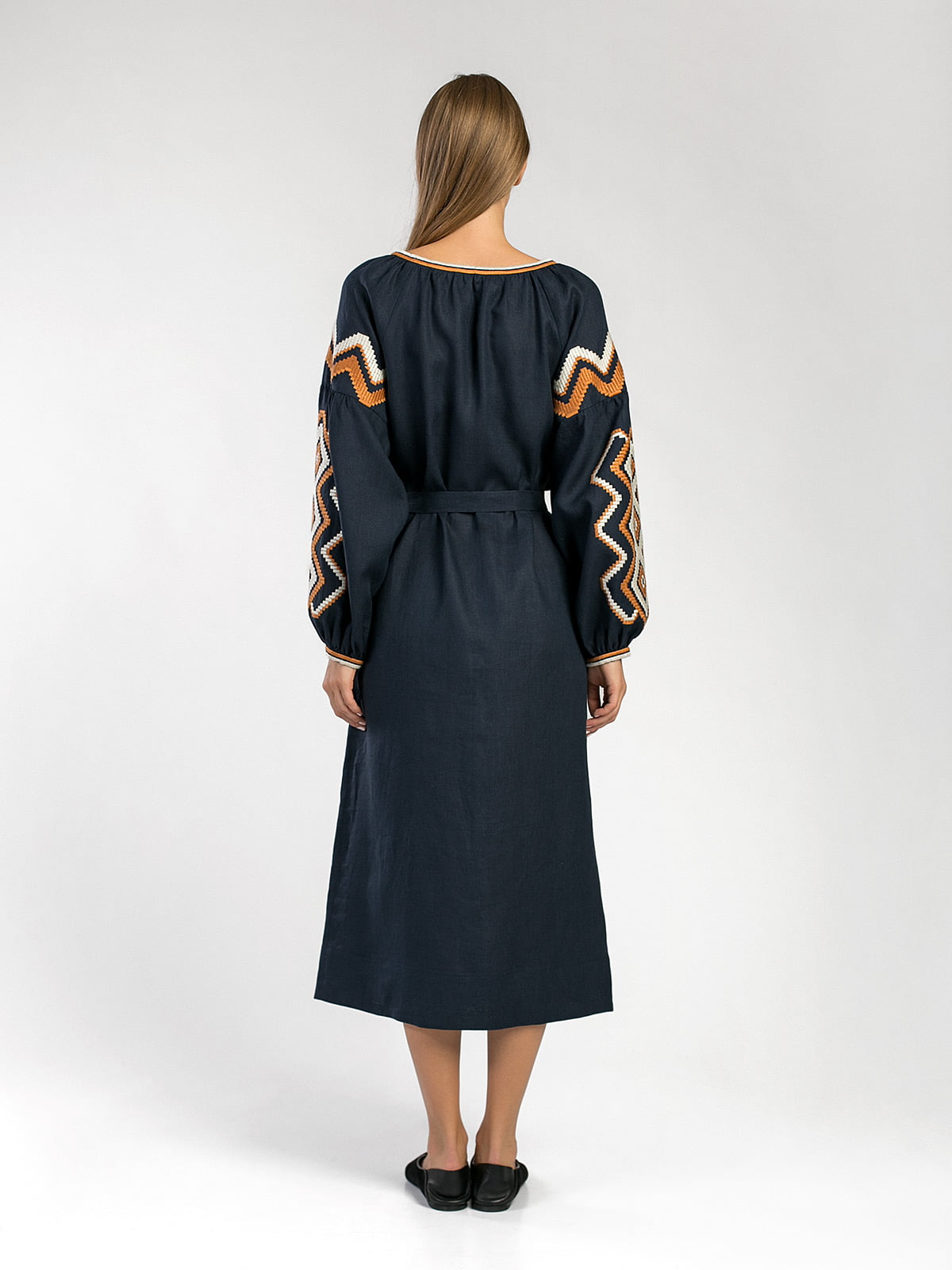 Dark-blue embroidered midi-dress WAVE 5