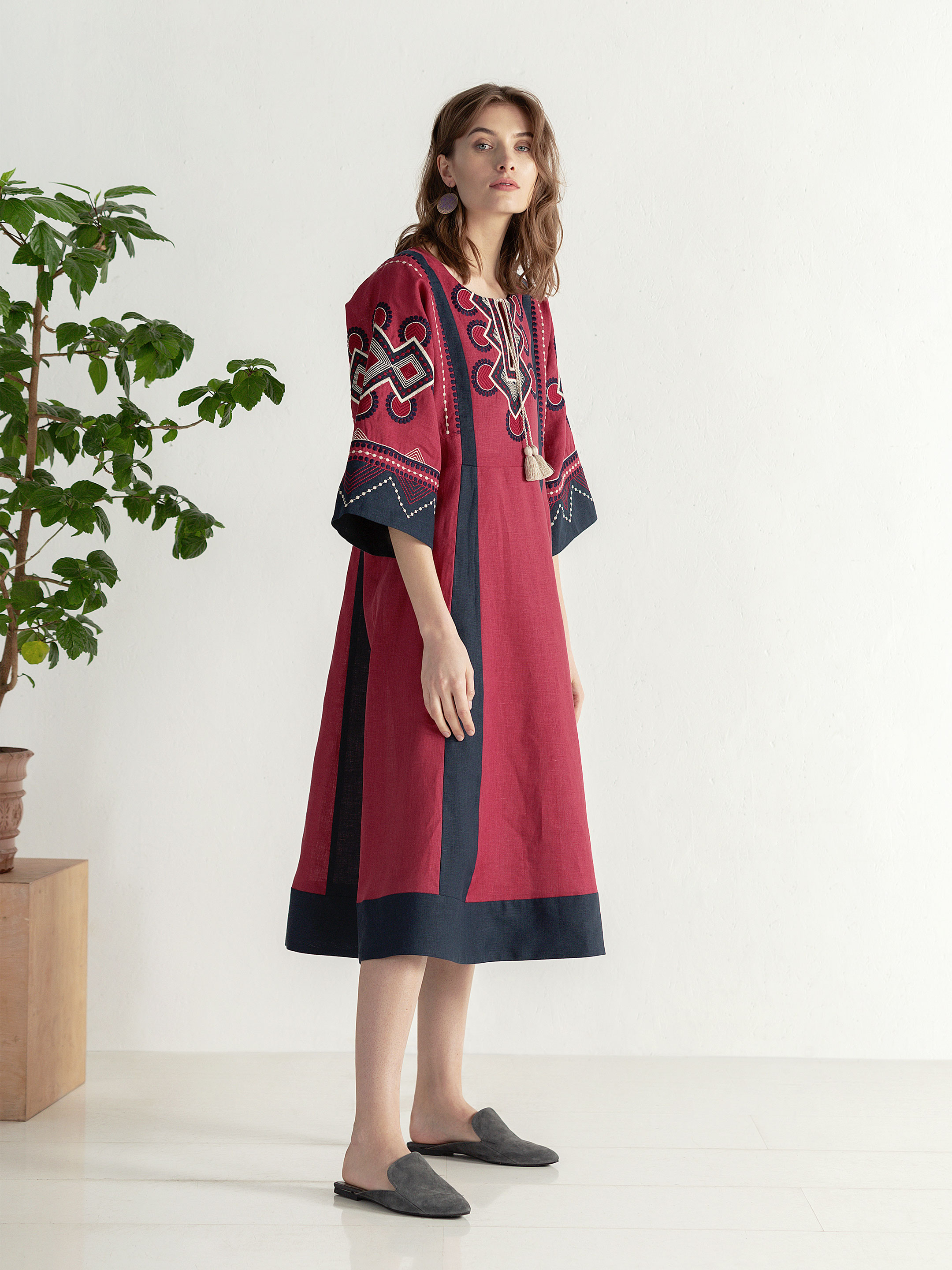 Boho dress of free robe with embroidery Temple2 4