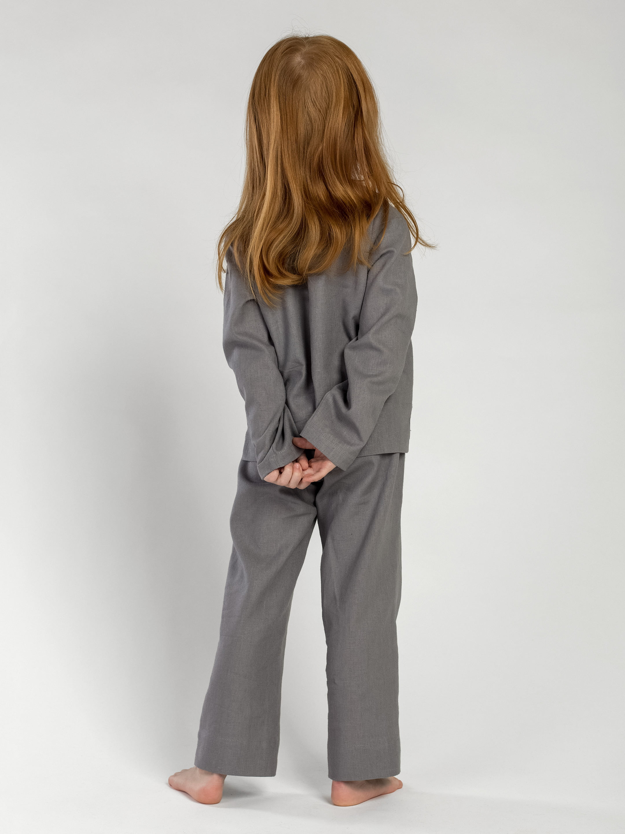 Linen Pajamas for the girl Dobby Grey 5