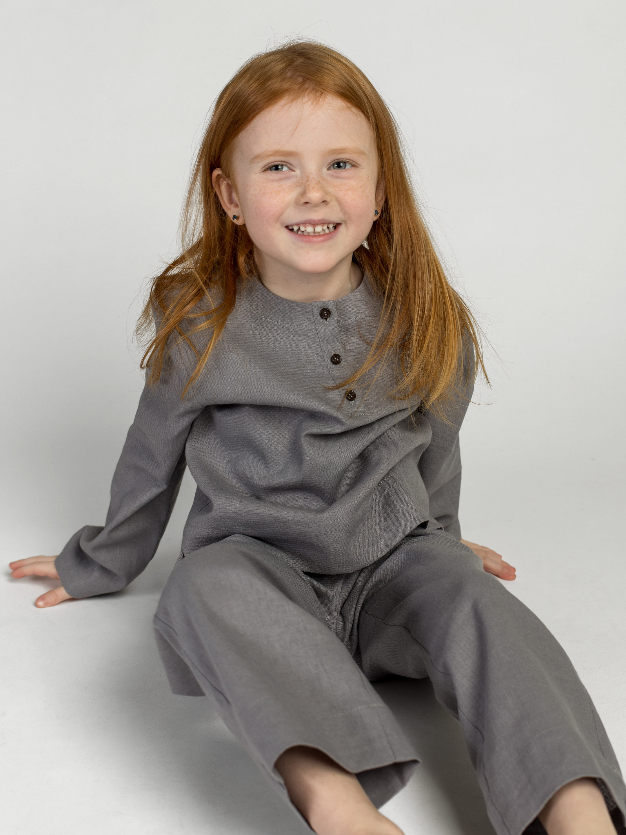Linen Pajamas for the girl Dobby Grey 4