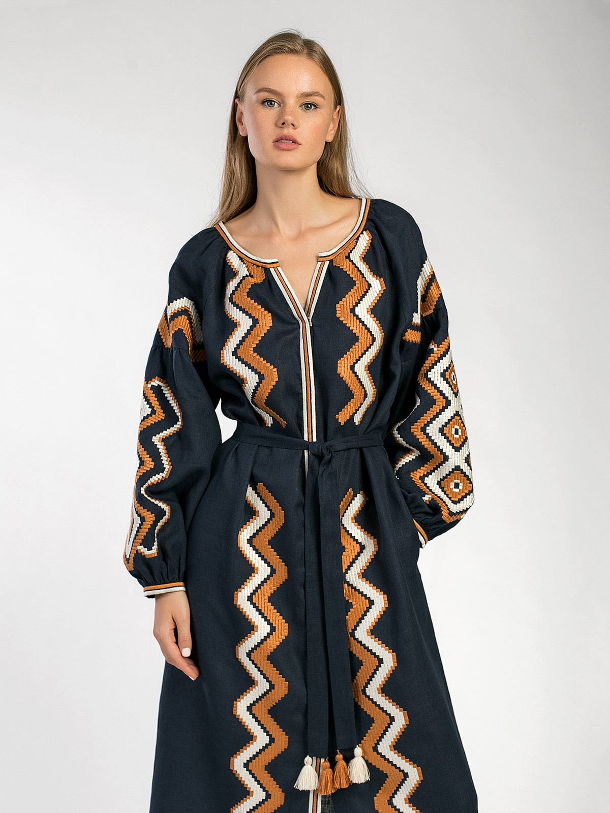 Dark-blue embroidered midi-dress WAVE 7