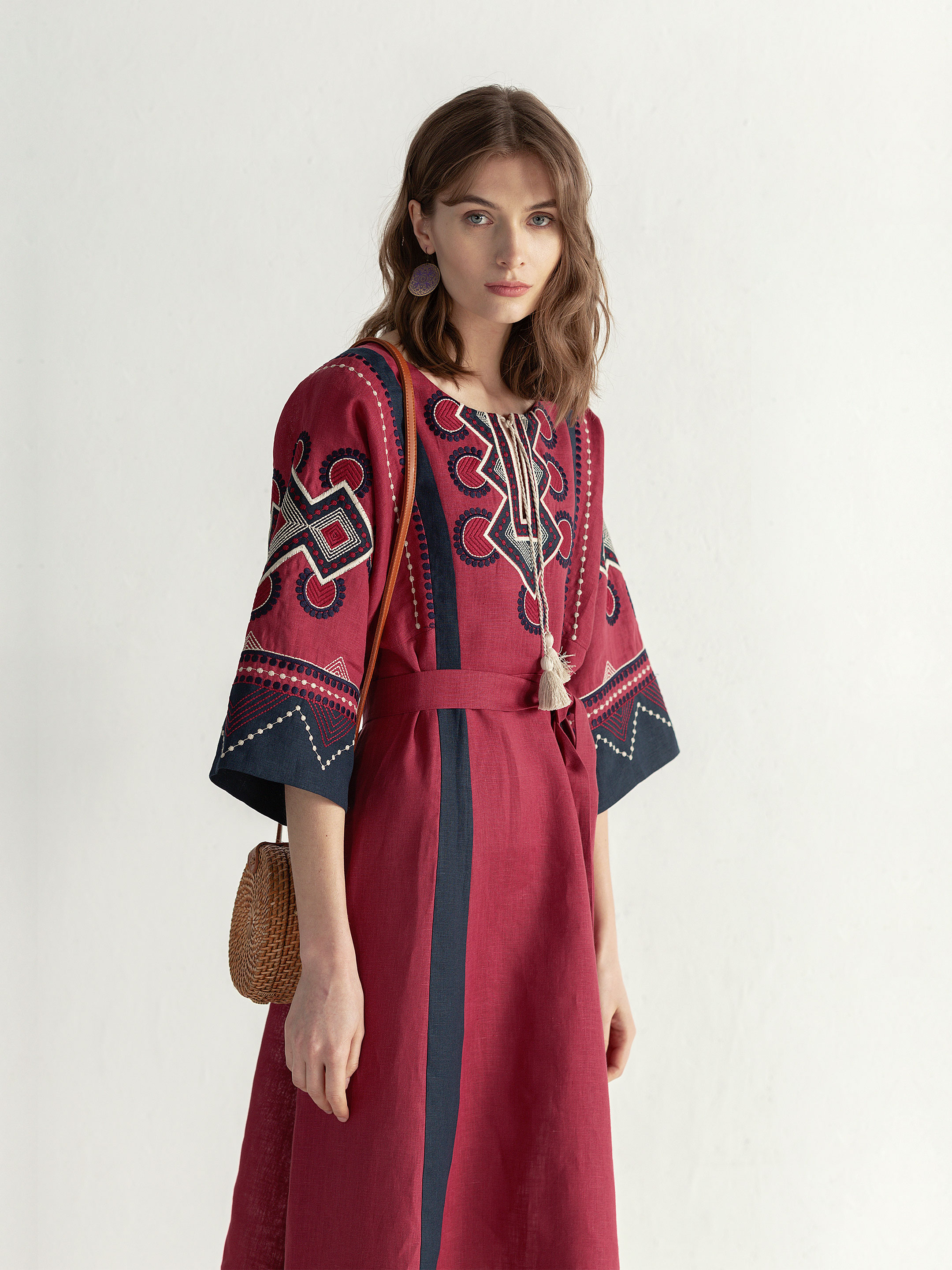 Boho dress of free robe with embroidery Temple2 3
