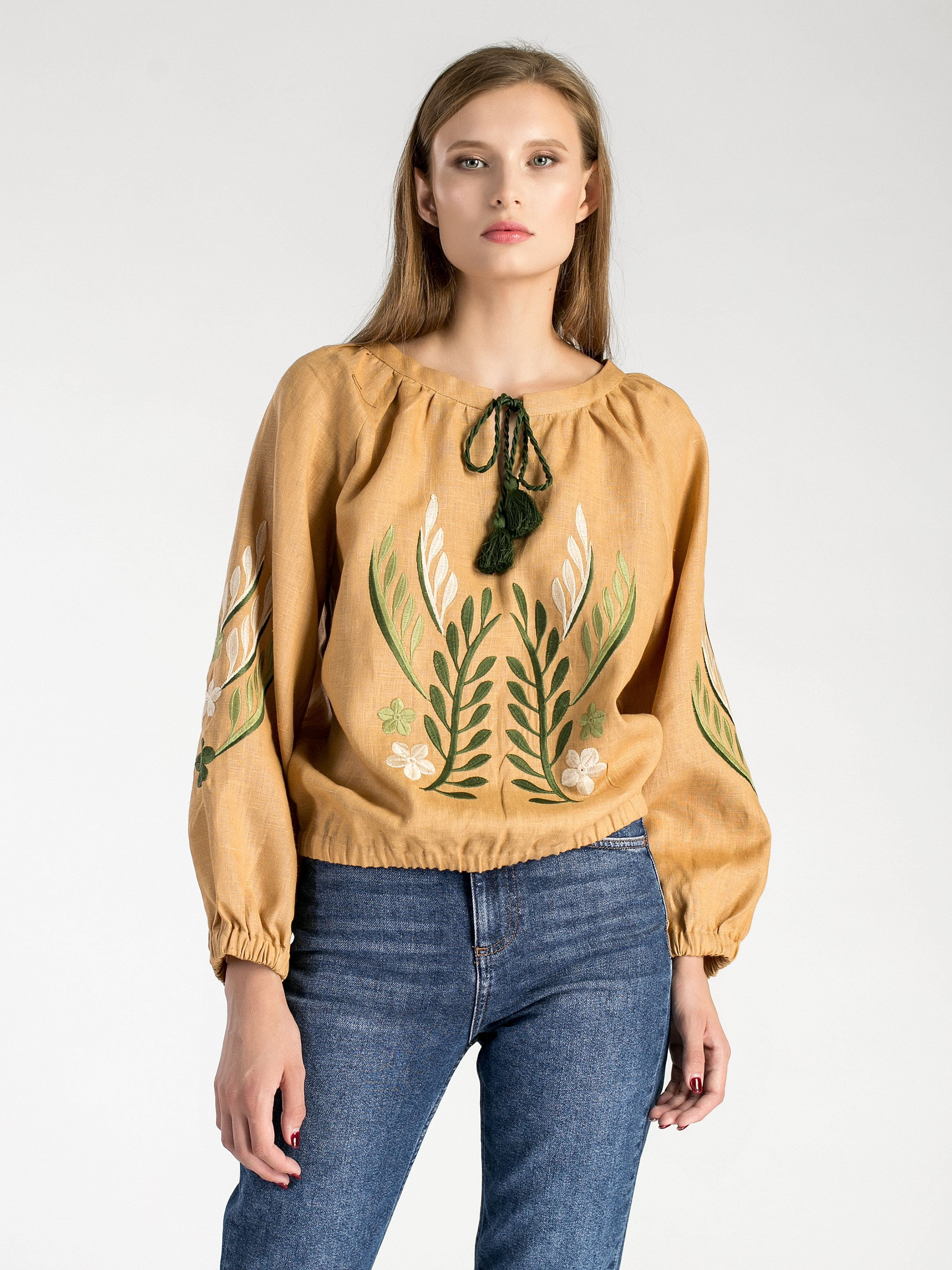 Linen embroidered blouse with elastic band Nature 2