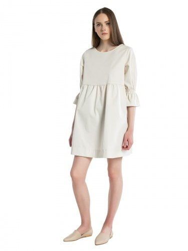 Cotton milk colored mini-dress with pockets EASY13