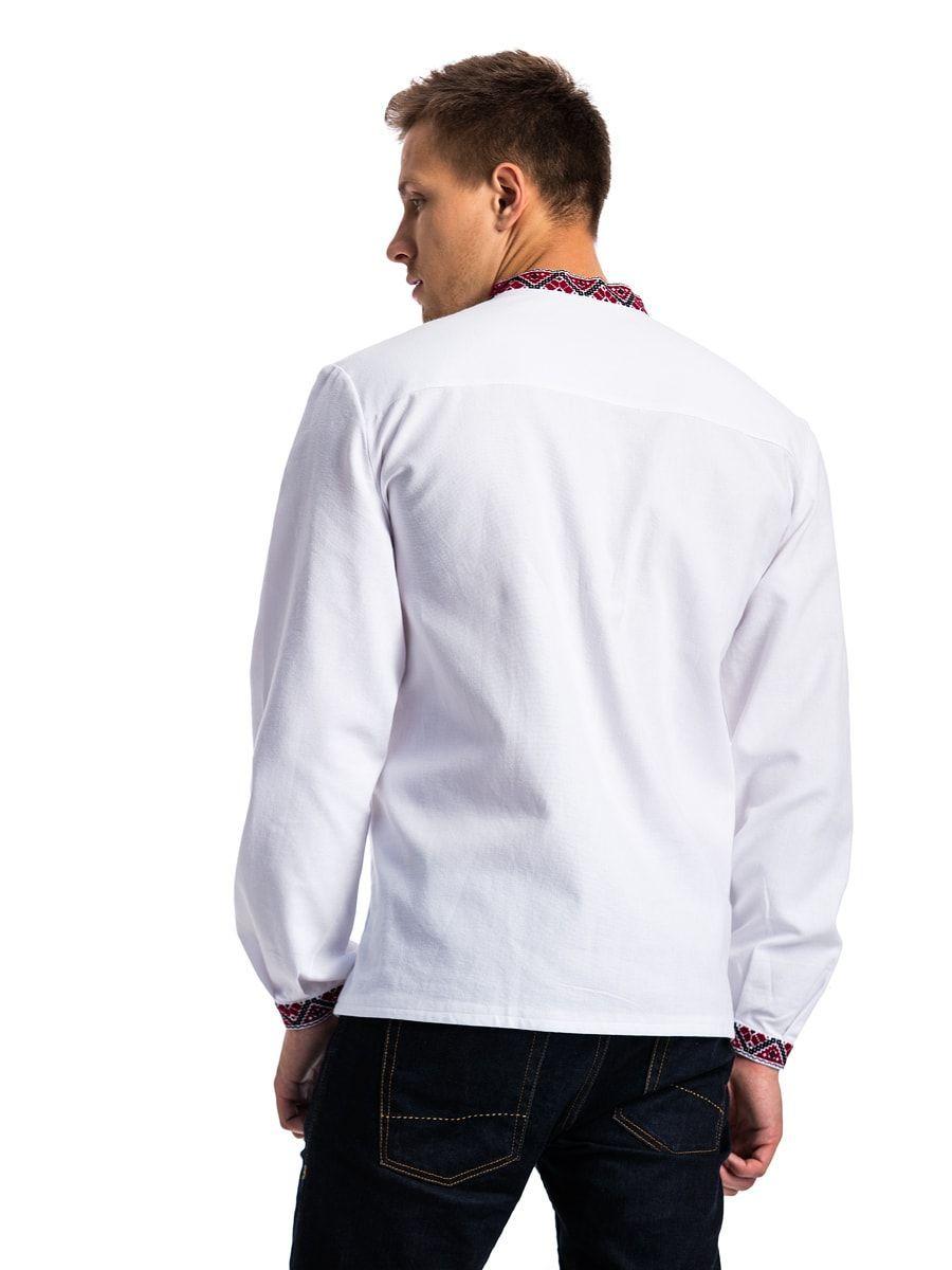 Чоловіча вишиванка з білого полотна з традиційним орнаментом E34 ... 060b2b5fe0734