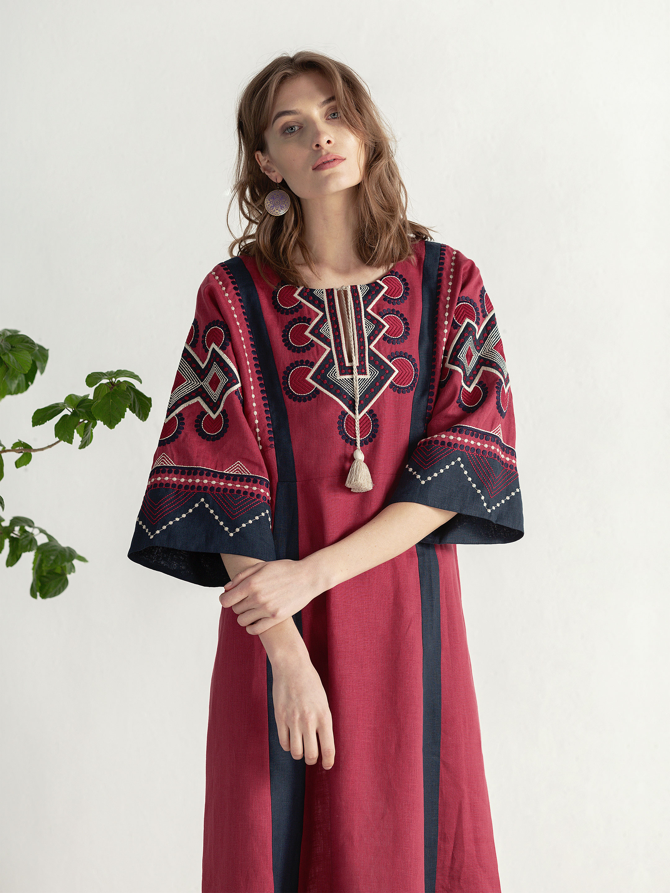 Boho dress of free robe with embroidery Temple2 9