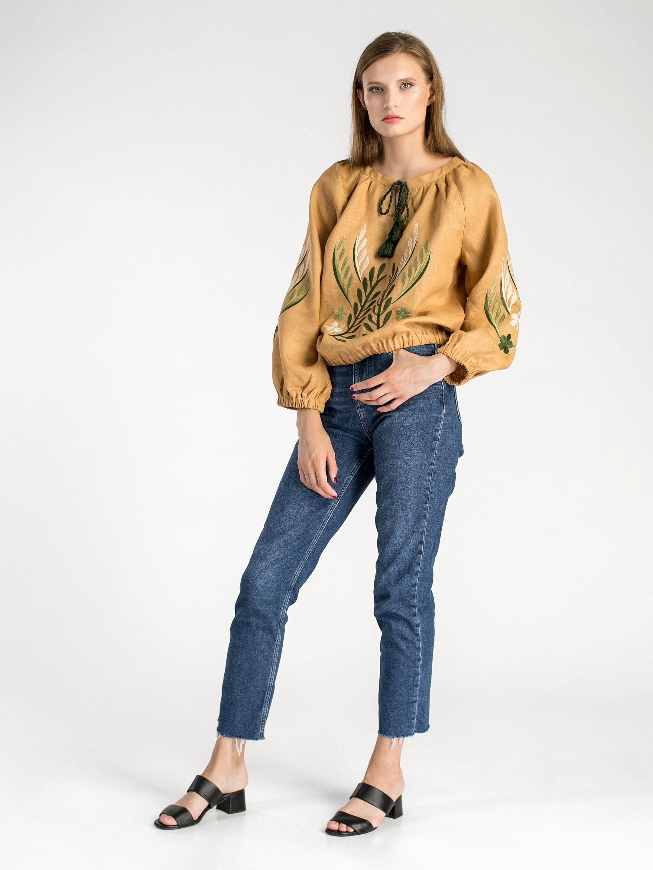 Linen embroidered blouse with elastic band Nature 2 4