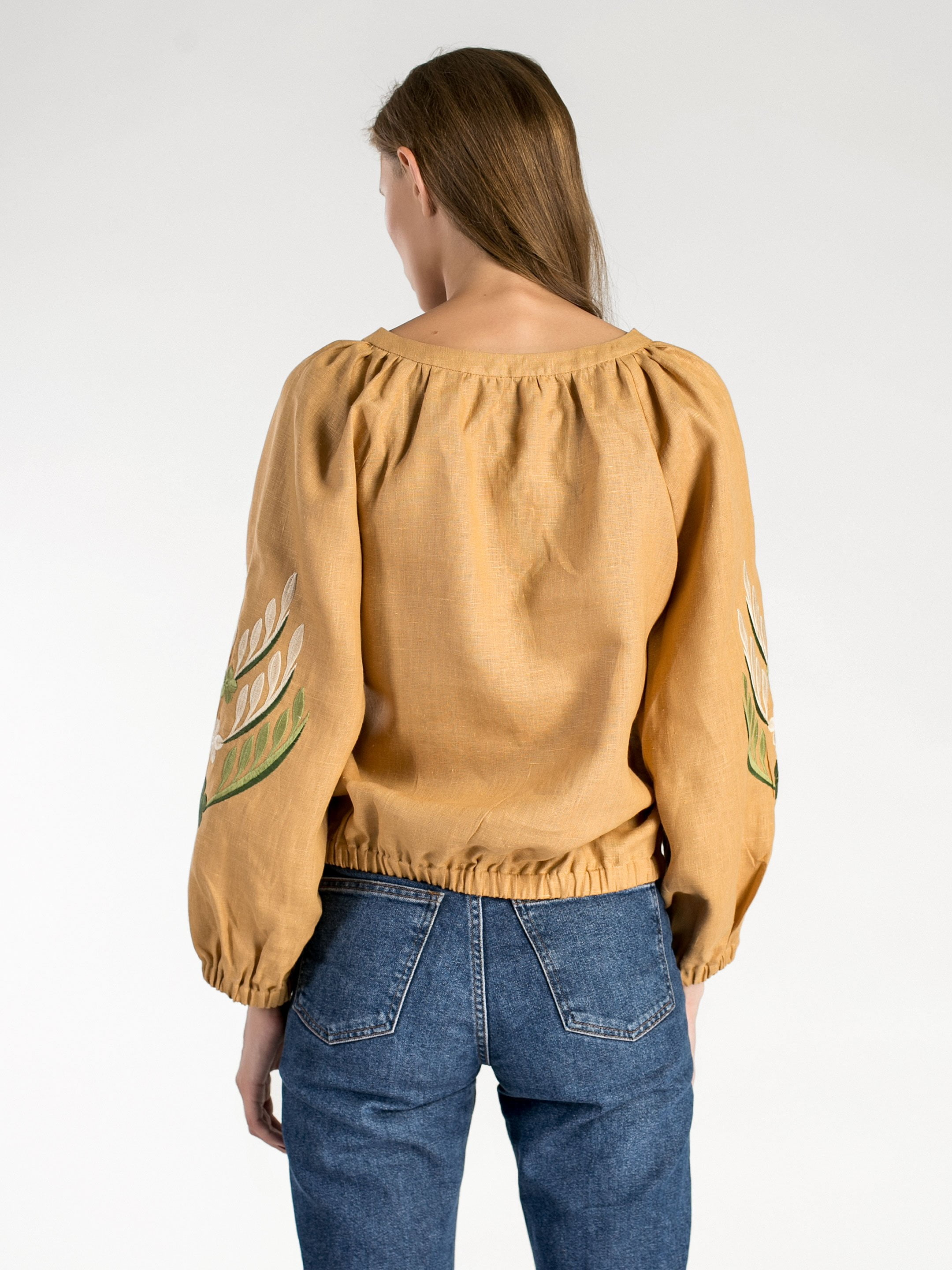 Linen embroidered blouse with elastic band Nature 2 6