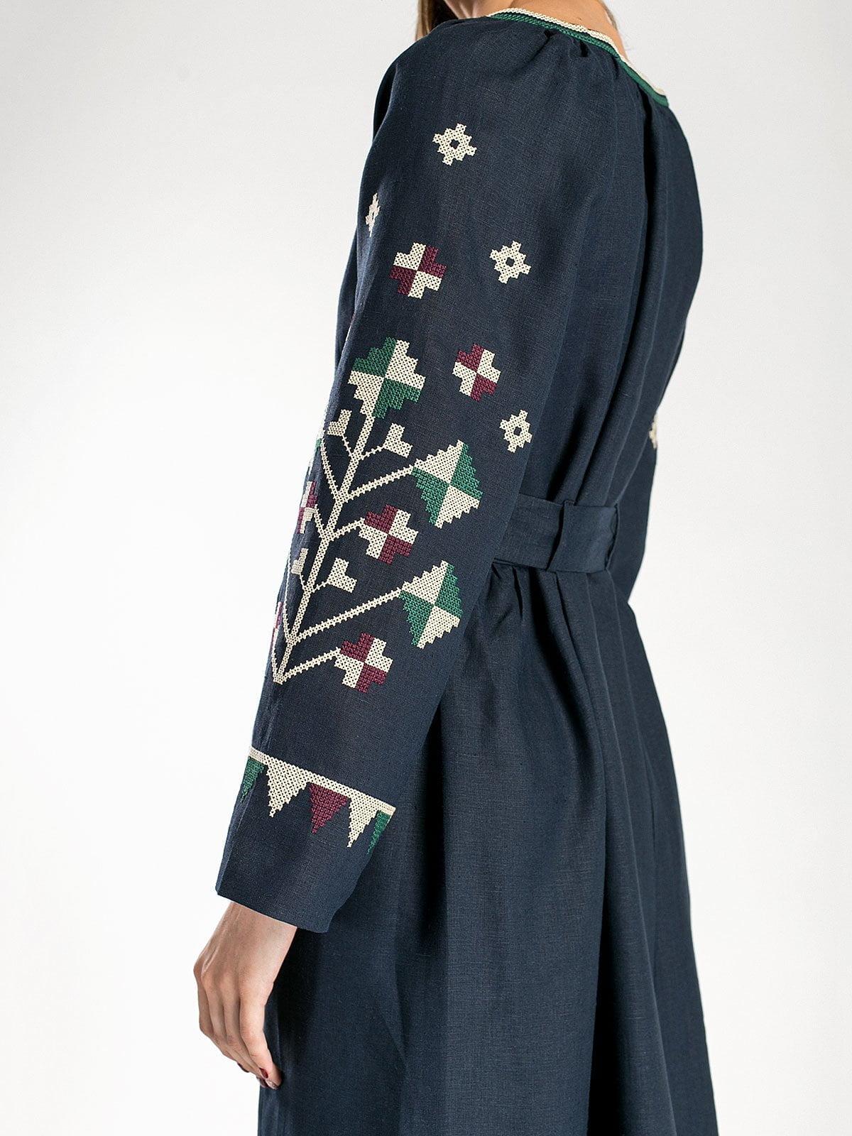 Темно-синя довга вишита сукня під пояс ETHNO4 – купити в Києві та ... 4edc575599c46