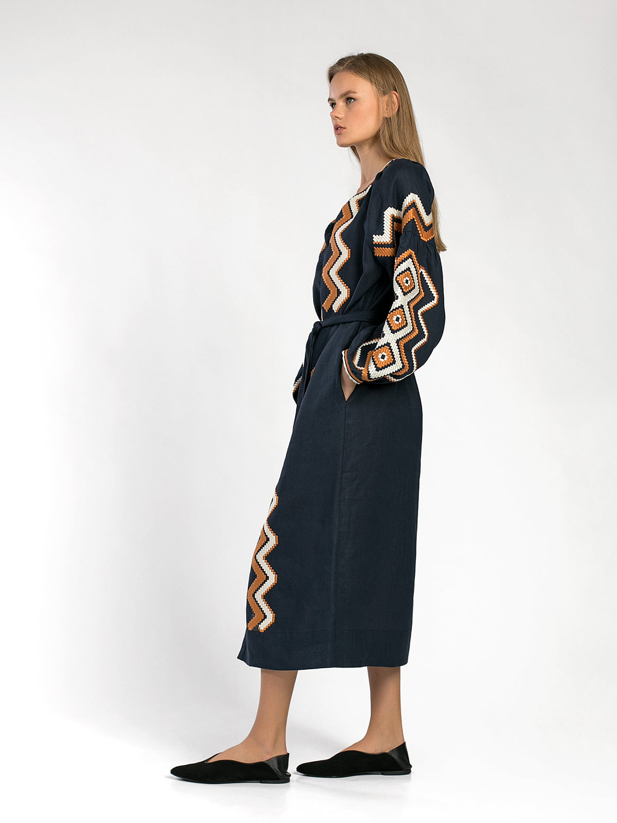 Dark-blue embroidered midi-dress WAVE 6