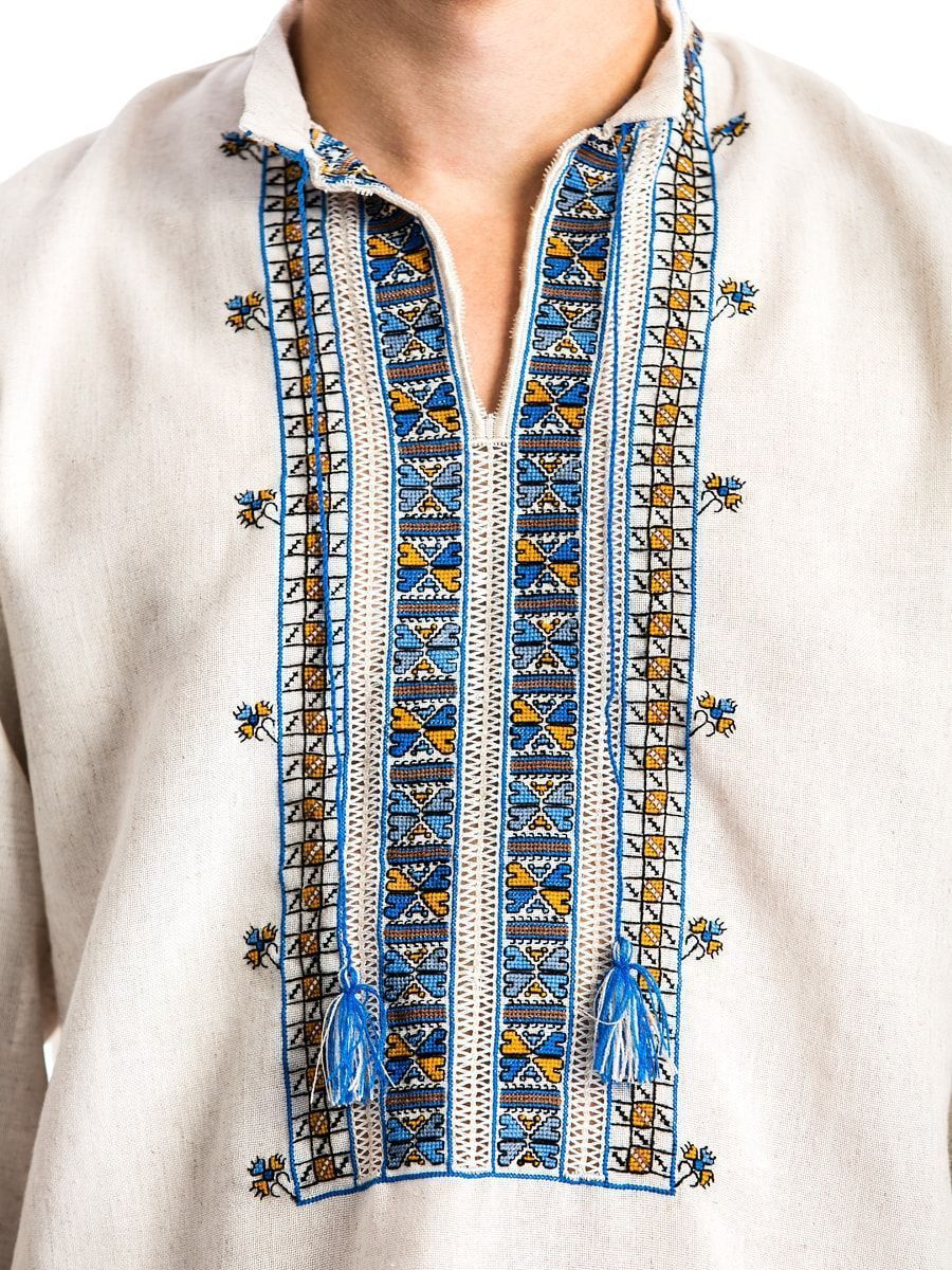 "Men's embroidered shirt on gray homespun cloth ""Polubotok"" E48 3"