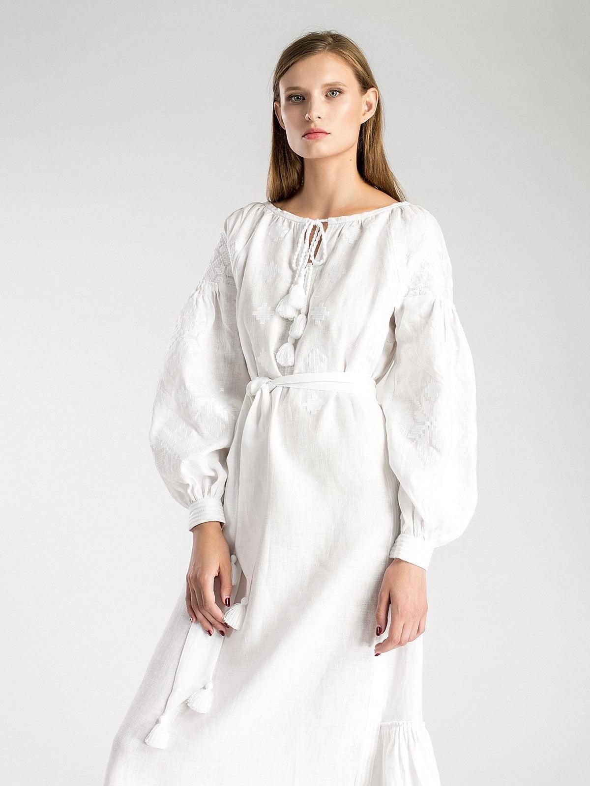 Біла лляна максі-сукня з білою вишивкою MD21 – купити в Києві та ... 9ed36ea94681f