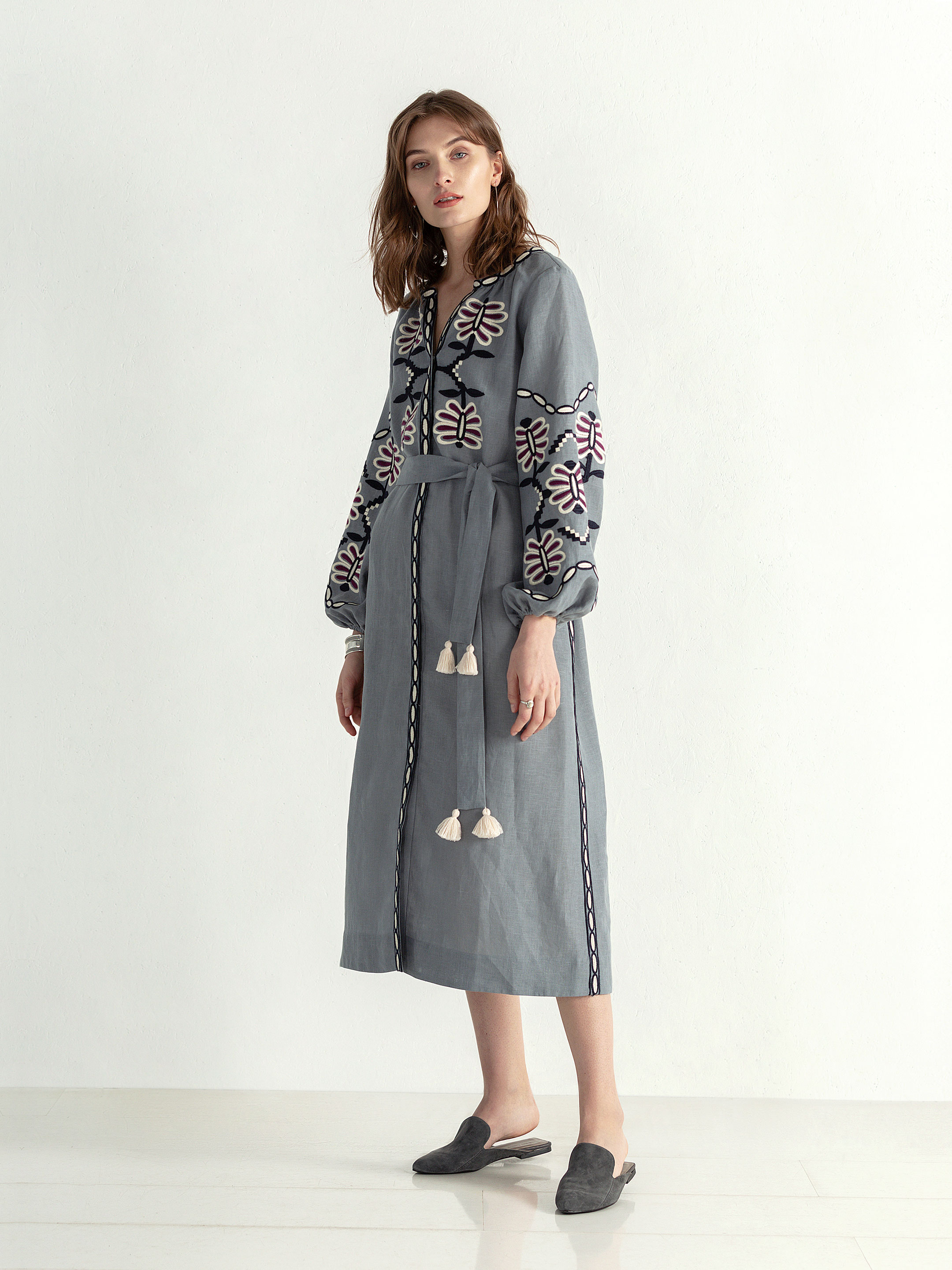 Linen midi embroidered dress with buttons Butterfly Dress 8