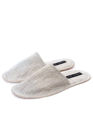 Slippers linen gray