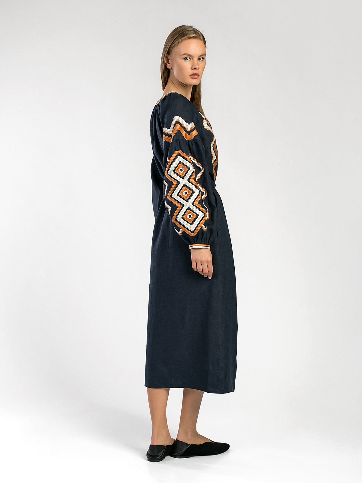 Dark-blue embroidered midi-dress WAVE 4