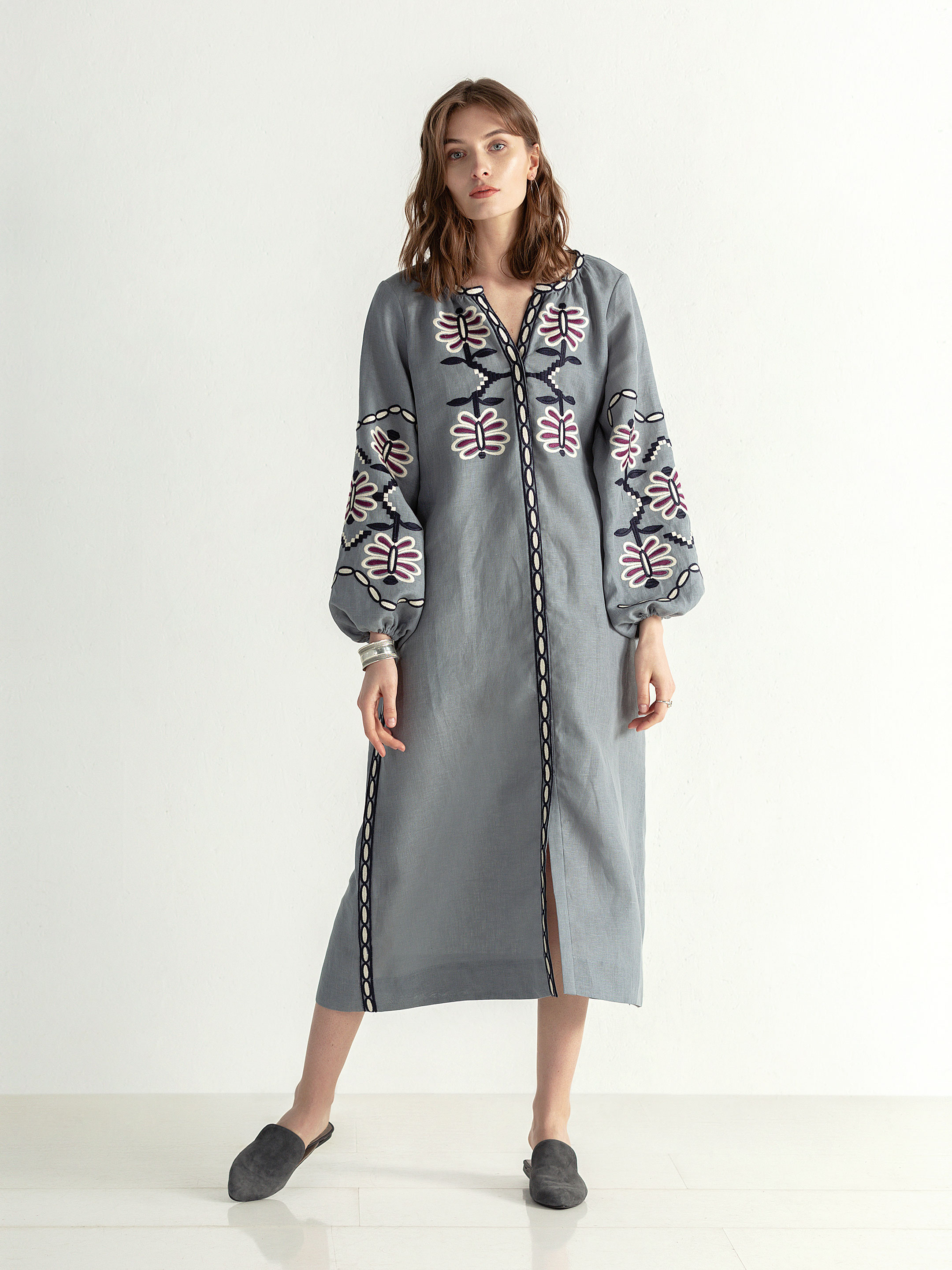 Linen midi embroidered dress with buttons Butterfly Dress