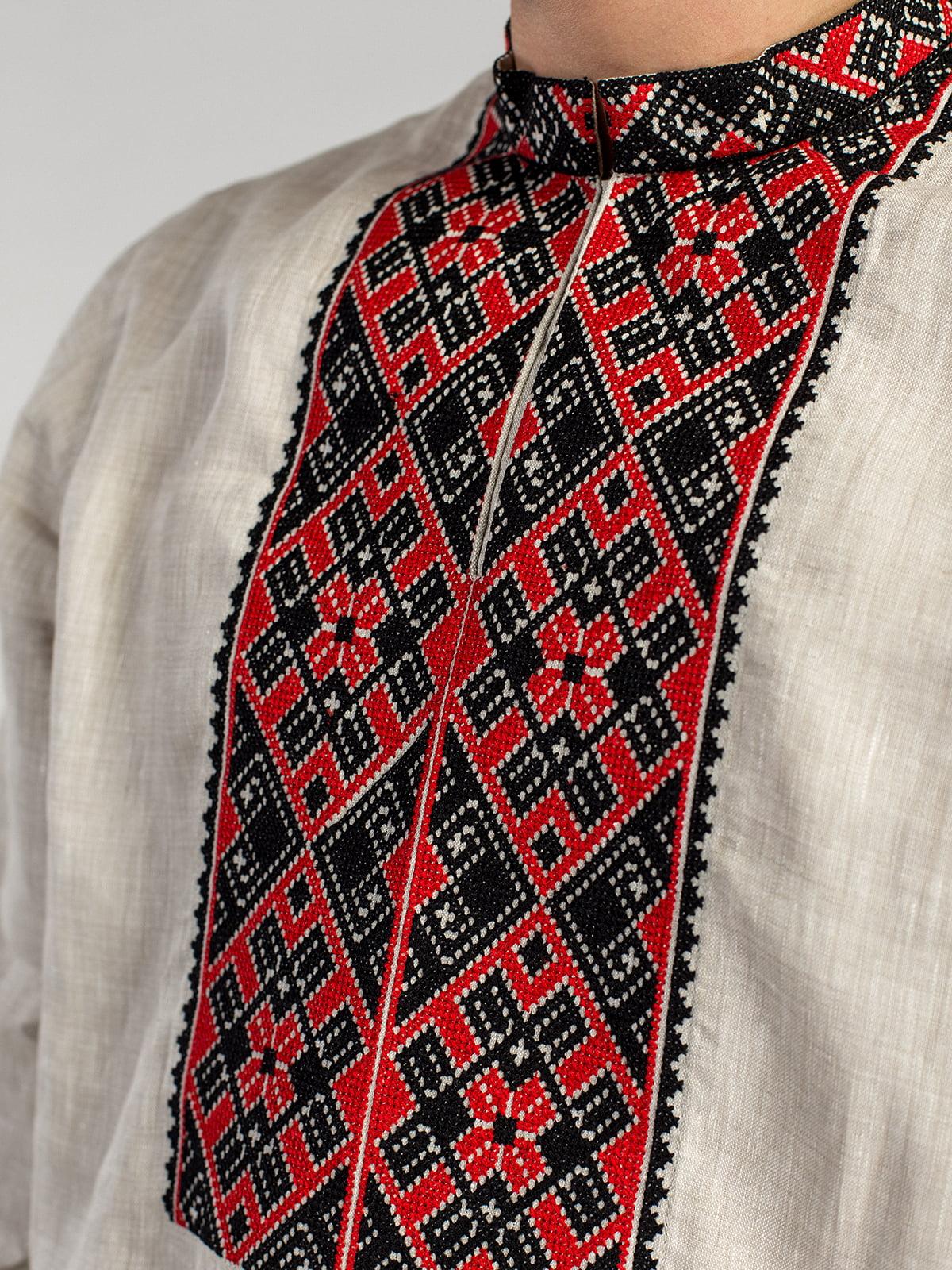 9cb3de9b07b7dd6 Мужская рубашка из серого льна с красно-черной вышивкой ED2/2 ...