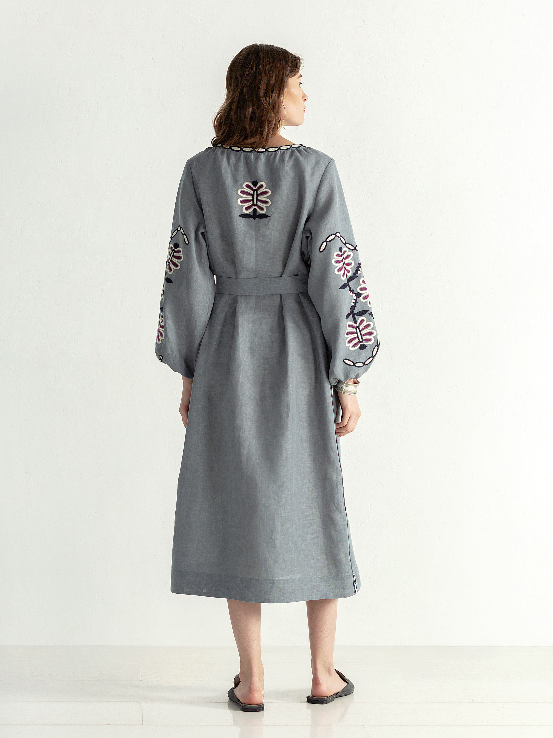 Linen midi embroidered dress with buttons Butterfly Dress 4