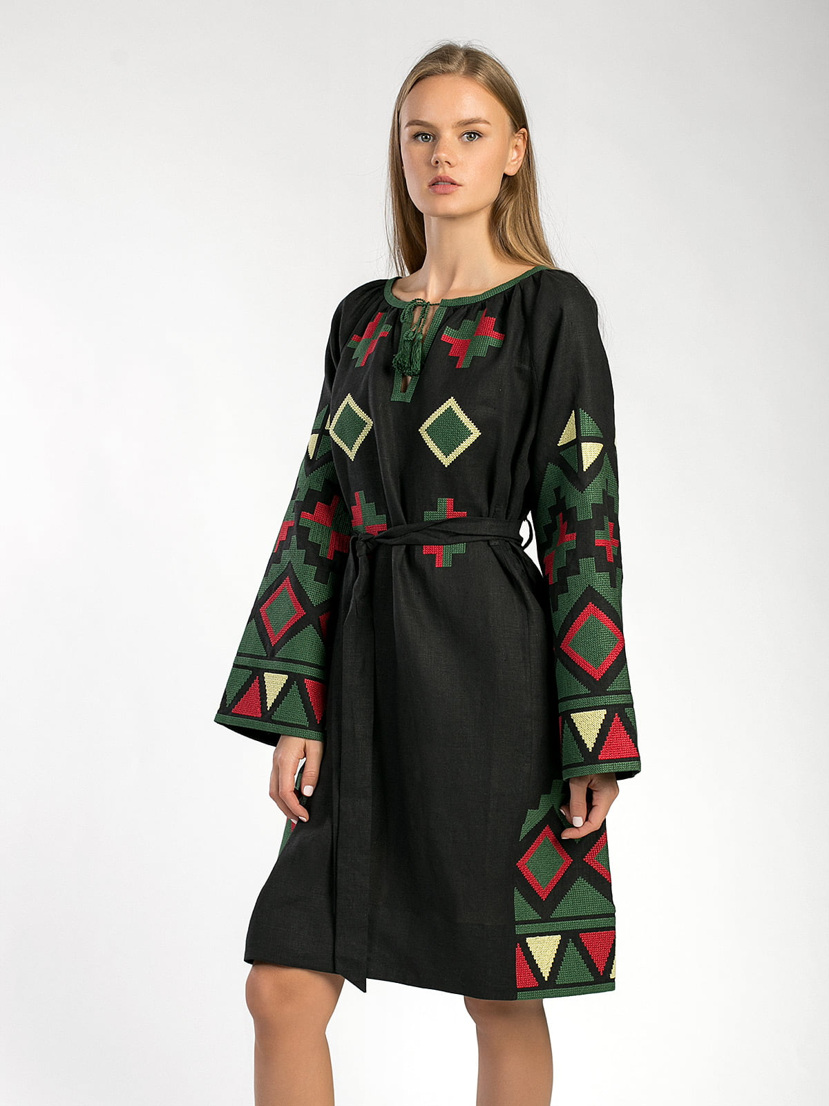 Black free-cut dress with massive embroidery ETHNO8 Black