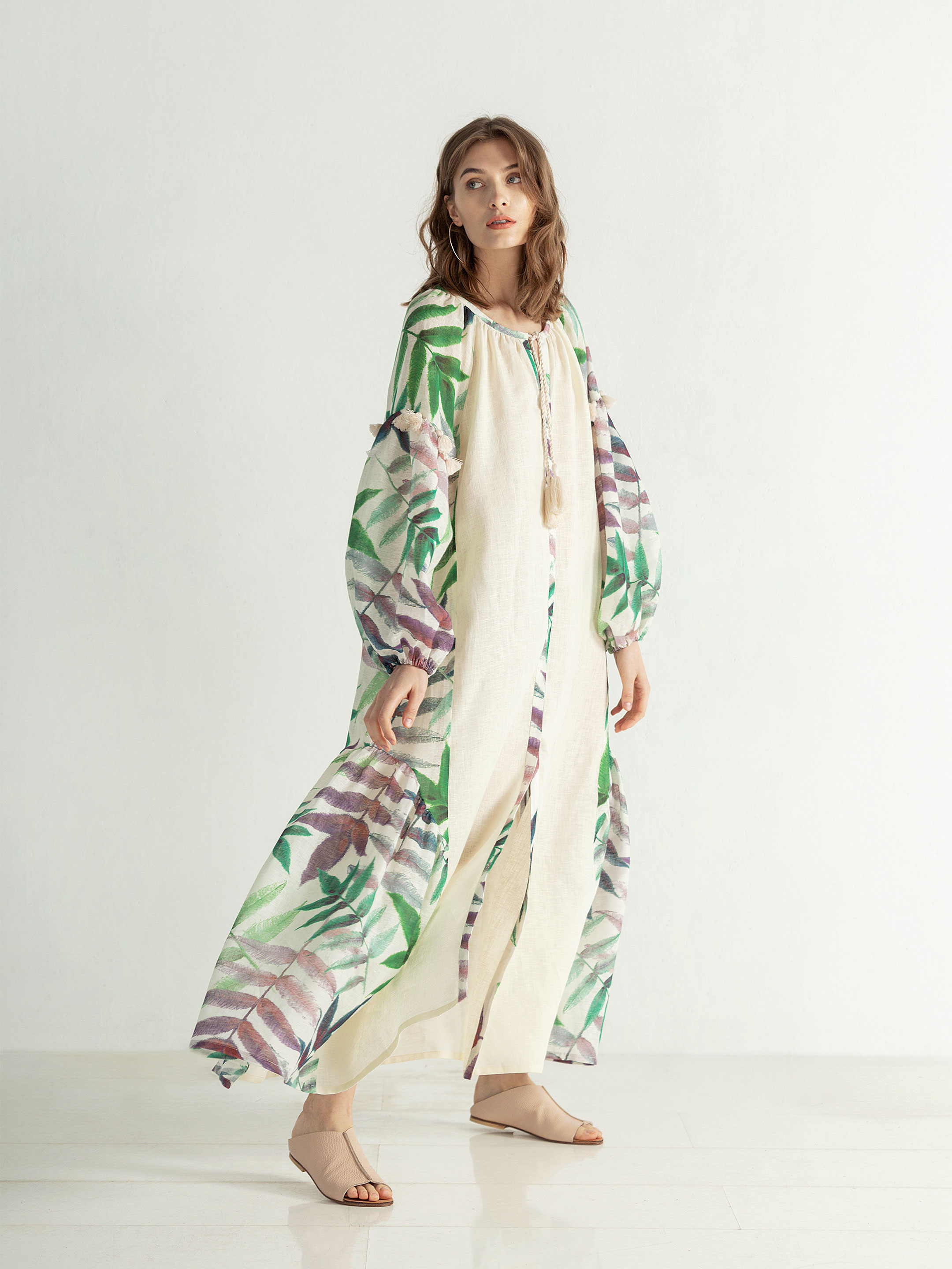 Easy linen boho dress with floral print Legend 7