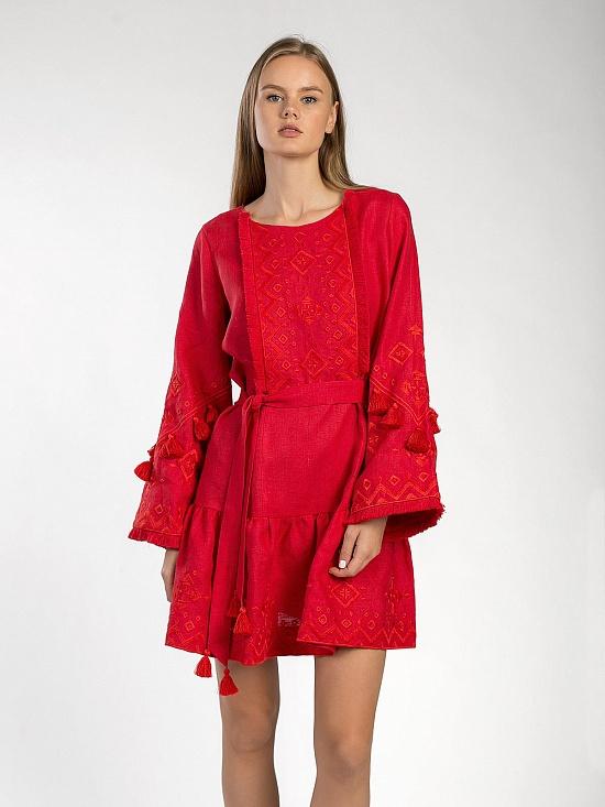 8b2e64bcf64ca7 Вишиті сукні колір червоний — купити в Україні | ETNODIM