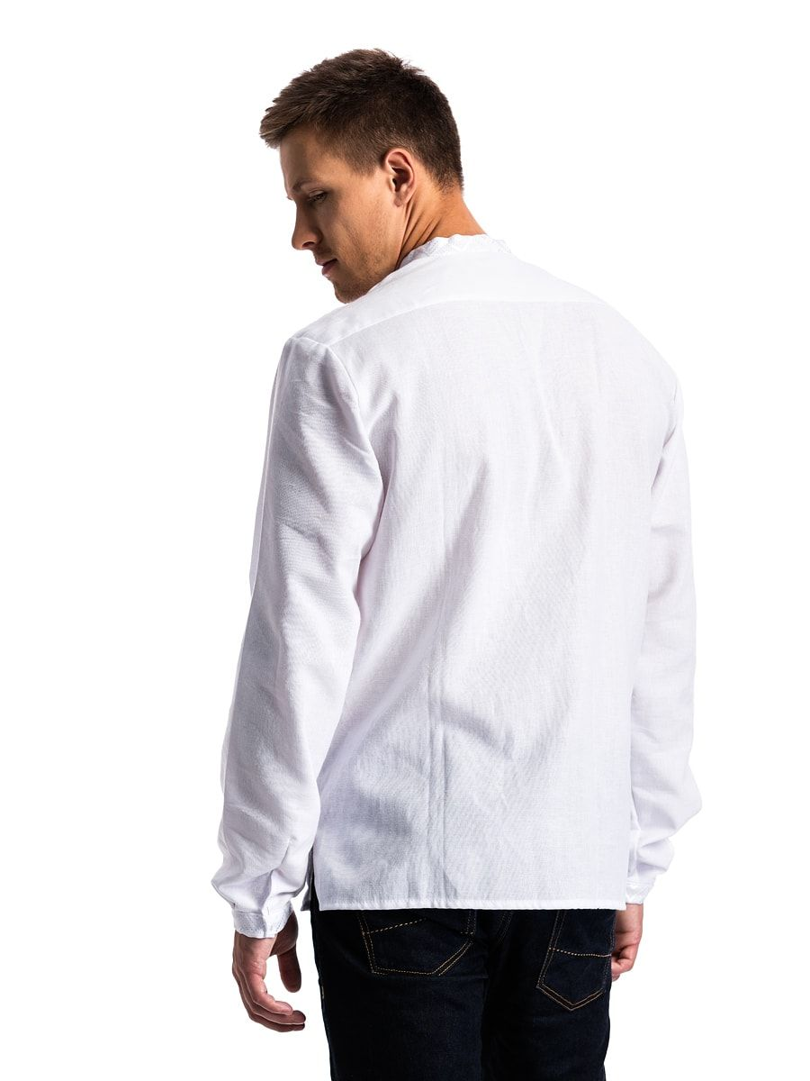 """Мужская вышиванка в технике """"белым по белому""""  E15"""