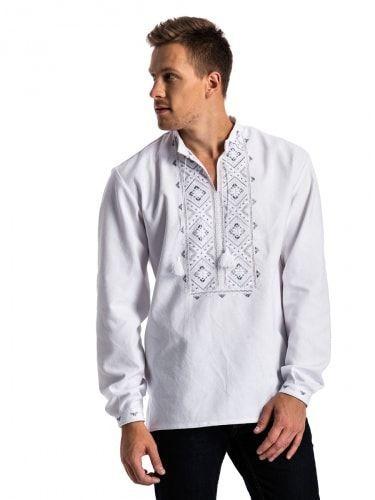 Мужская вышиванка c серебристой вышивкой гладью E25