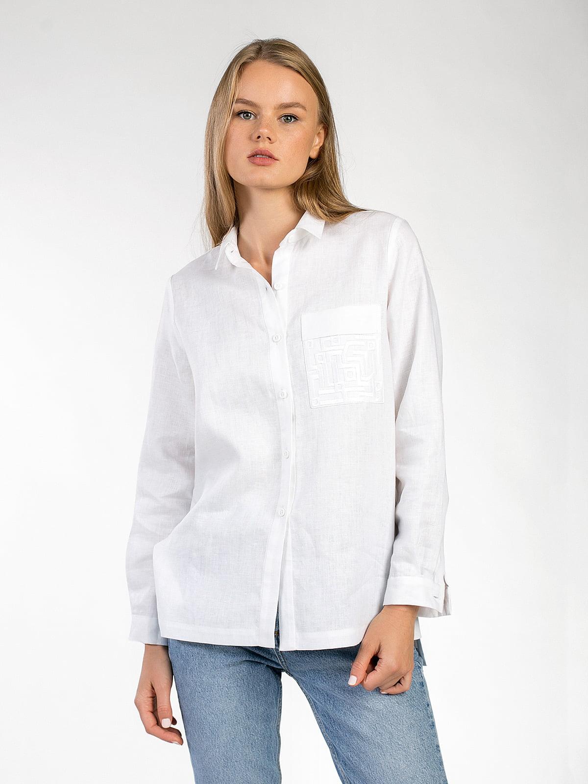 e9a5287ad49063d Белая льняная рубашка с вышивкой на кармане Simple 3 – купить в ...