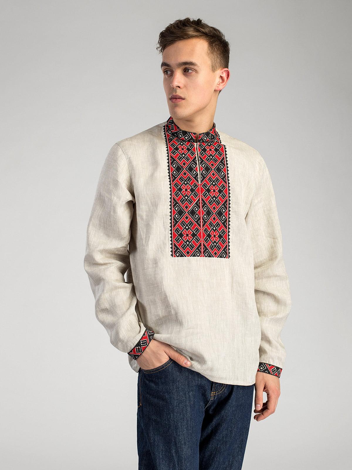 Чоловіча сорочка з сірого льону з червоно-чорною вишивкою ED2 2 ... b9cb4531845c9