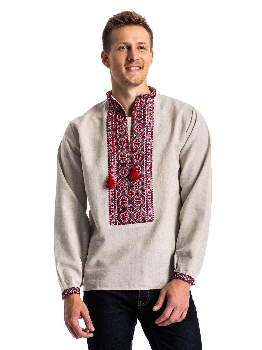 ... Чоловіча вишиванка з сірого льону з традиційним орнаментом ЛС4 ... 40ecc44c2c5b9