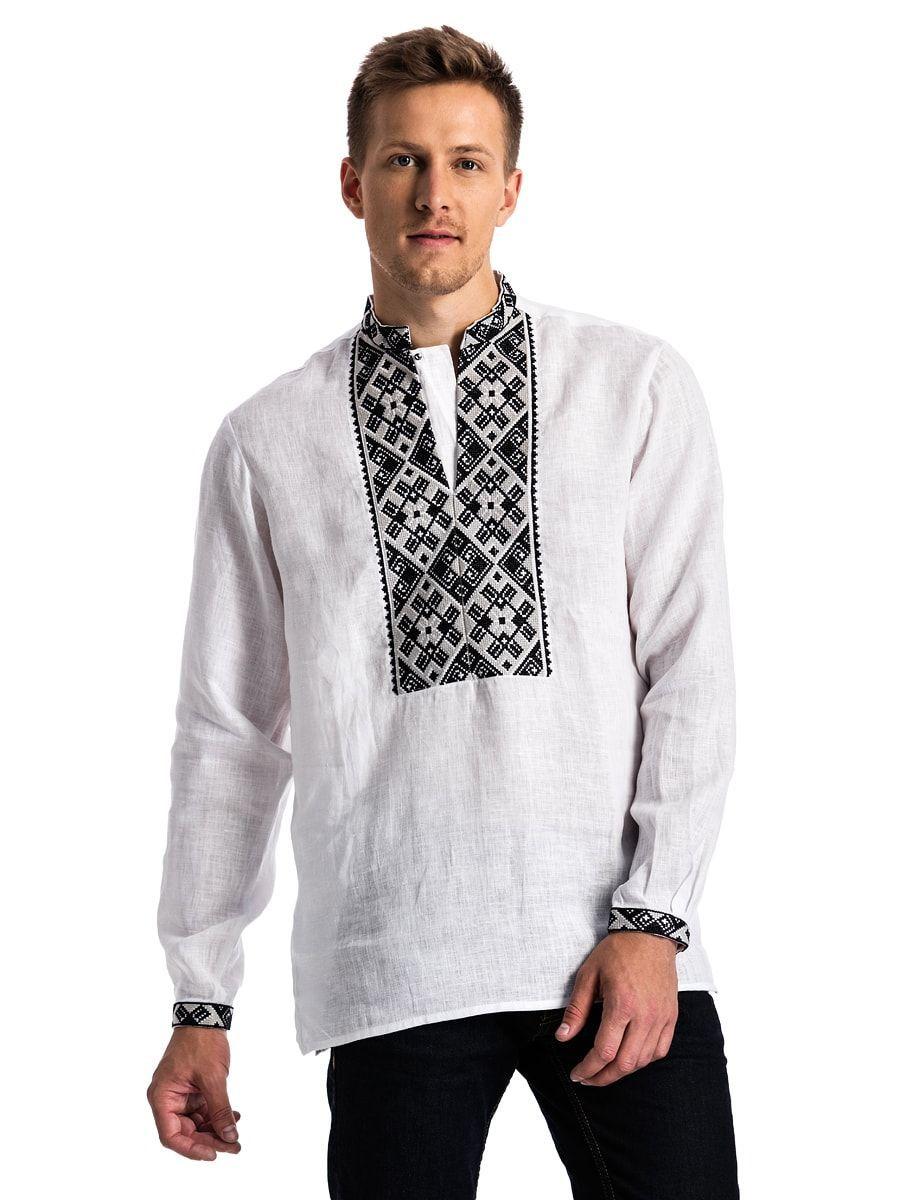 Біла дизайнерська чоловіча сорочка з чорною вишивкою ED2 – купити в ... 1b008e51fb026
