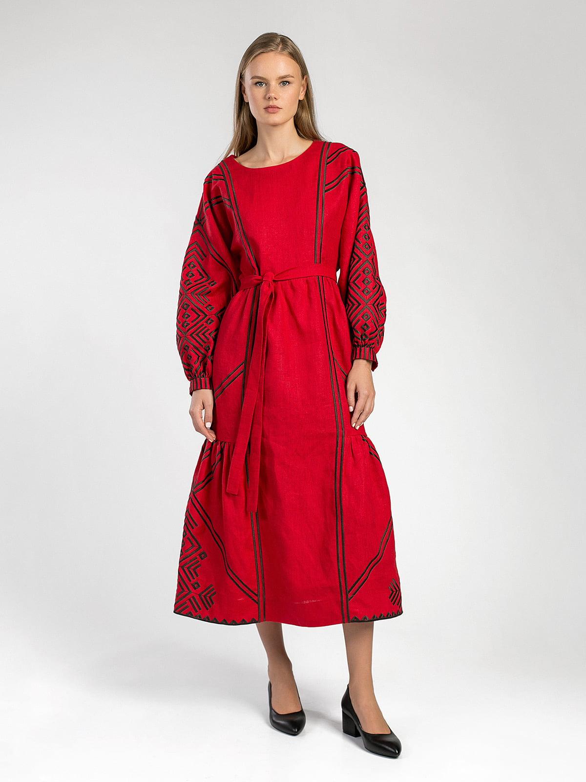 8dfea4178f4 Красное льняное платье с геометрической вышивкой Akai – купить в ...