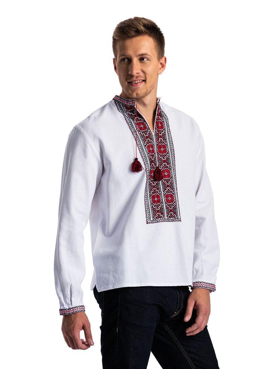 c1eddc785602f8b Белая вышиванка с традиционным красно-черным орнаментом E78 – купить ...