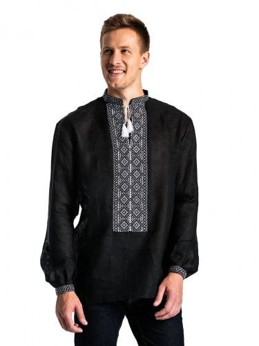 Черная льняная мужская вышиванка с белым орнаментом Б2 Фото 1