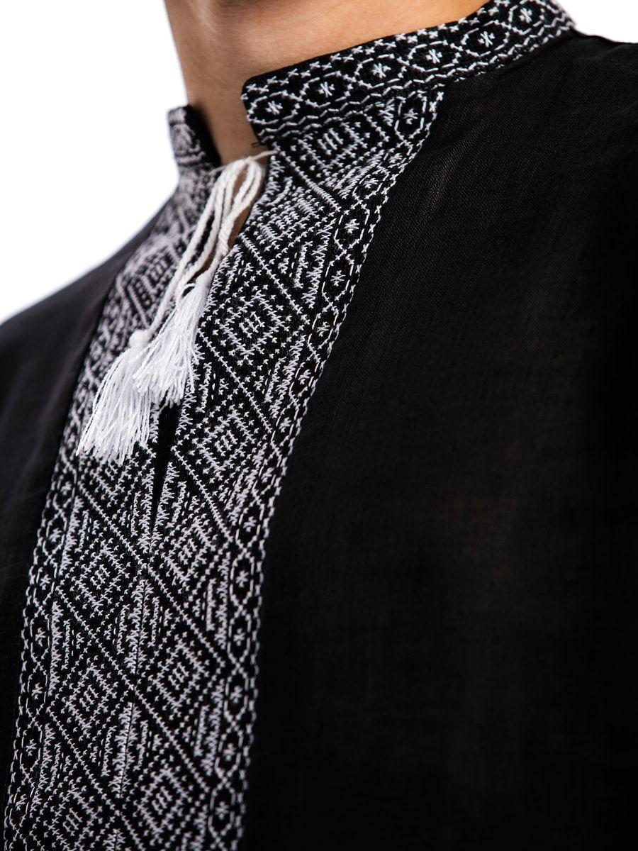 Черная льняная мужская вышиванка с белым орнаментом Б2 Фото 2