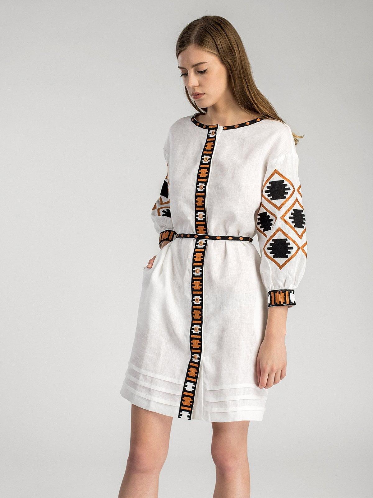 Біла лляна вишита сукня на гудзиках MD19 2 – купити в Києві та ... cf5b118b19dca